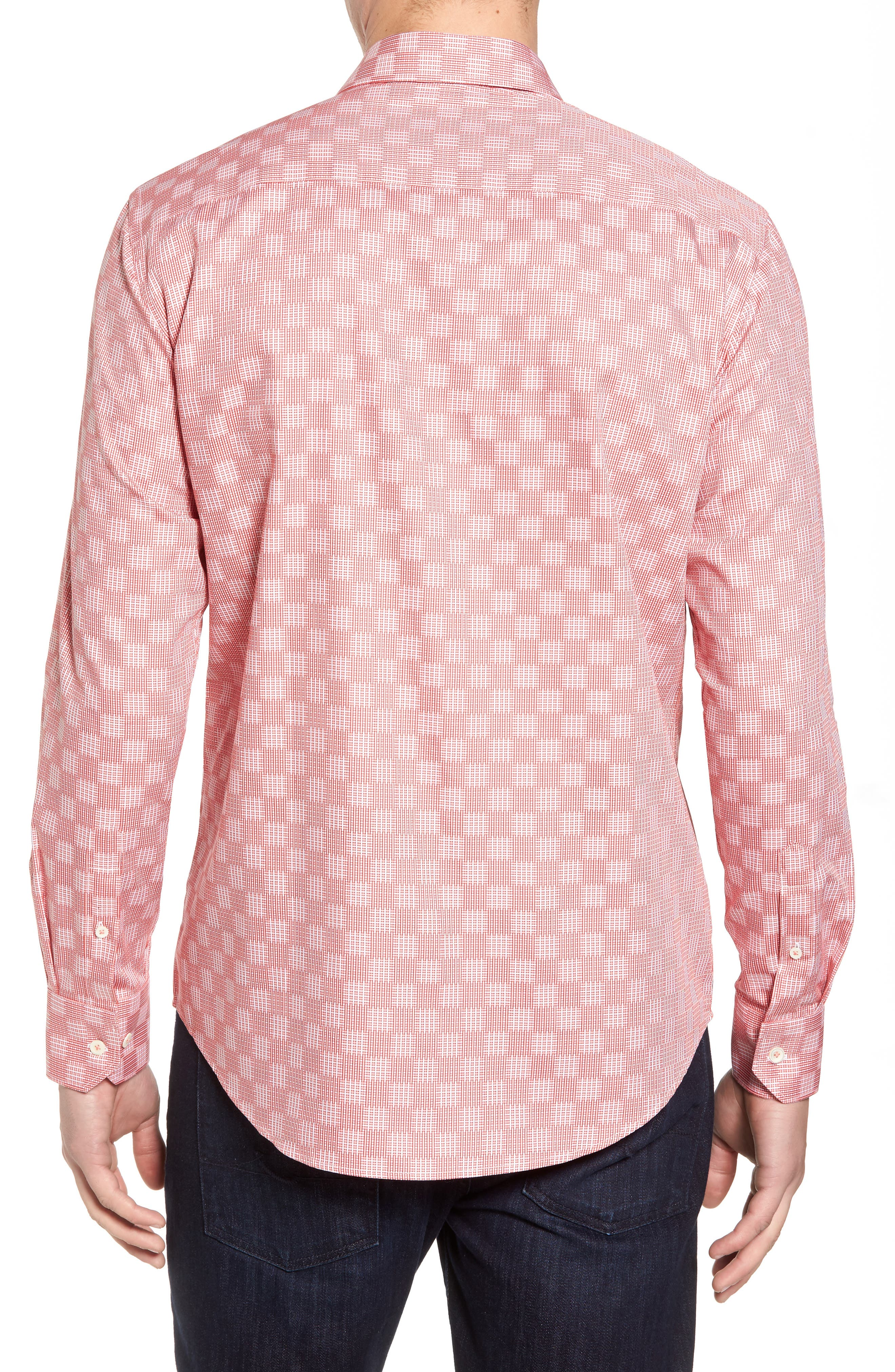 Shaped Fit Print Sport Shirt,                             Alternate thumbnail 2, color,                             Coral