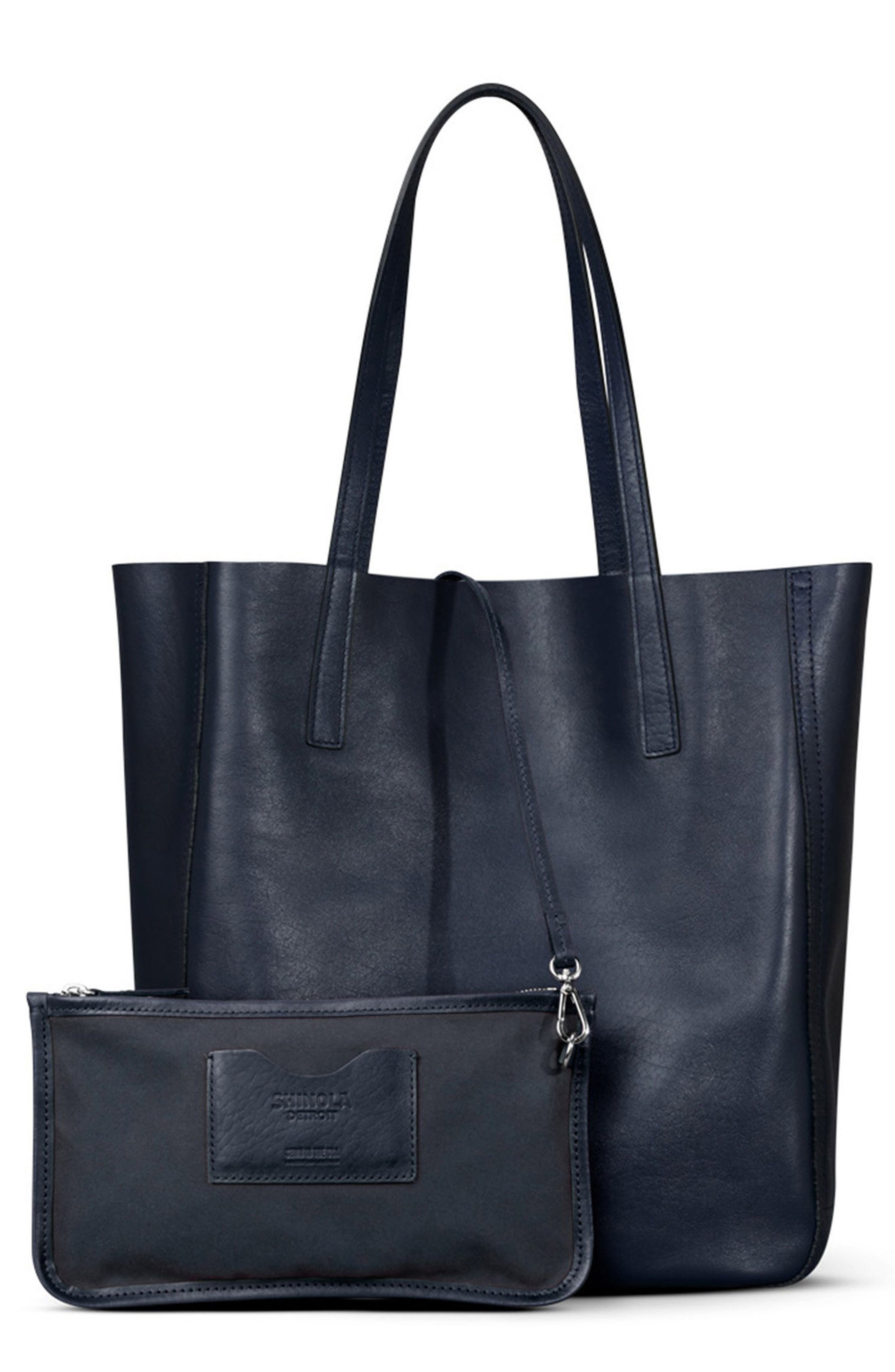 MEDIUM LEATHER SHOPPER - BLUE
