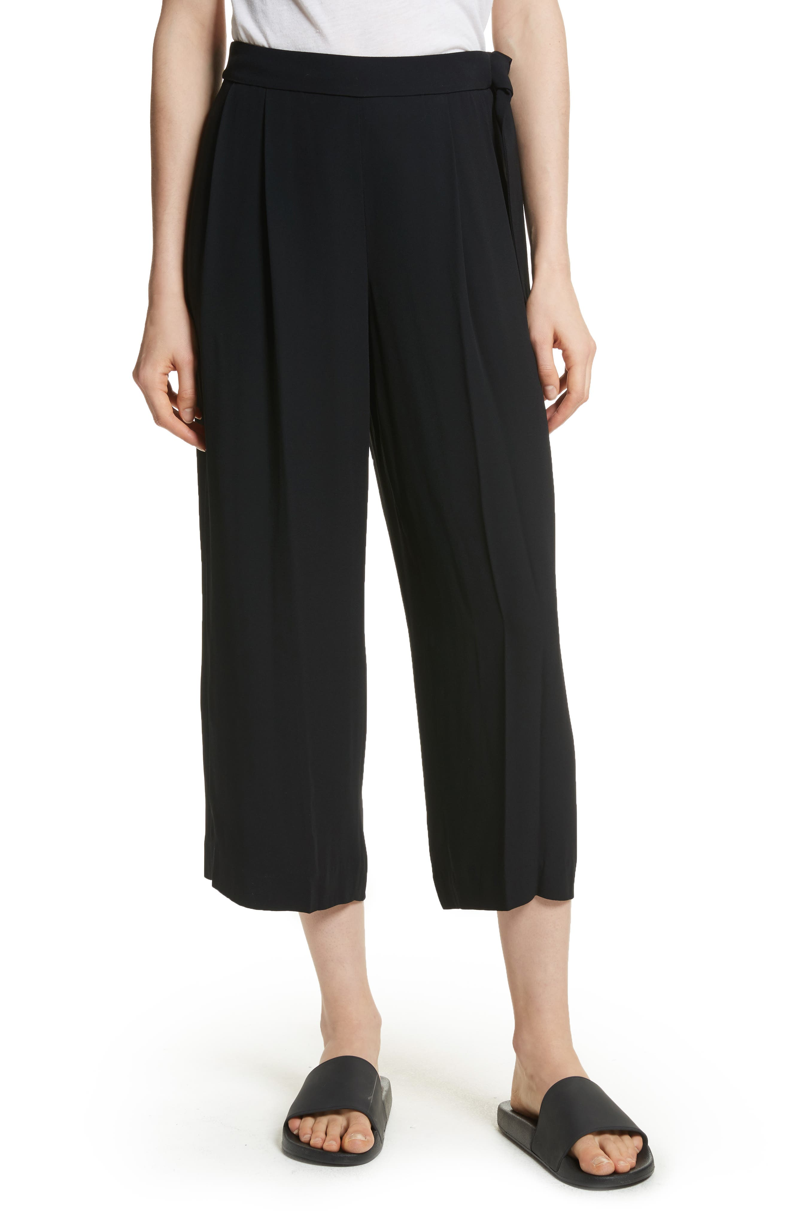 Belted Culottes,                             Main thumbnail 1, color,                             Black