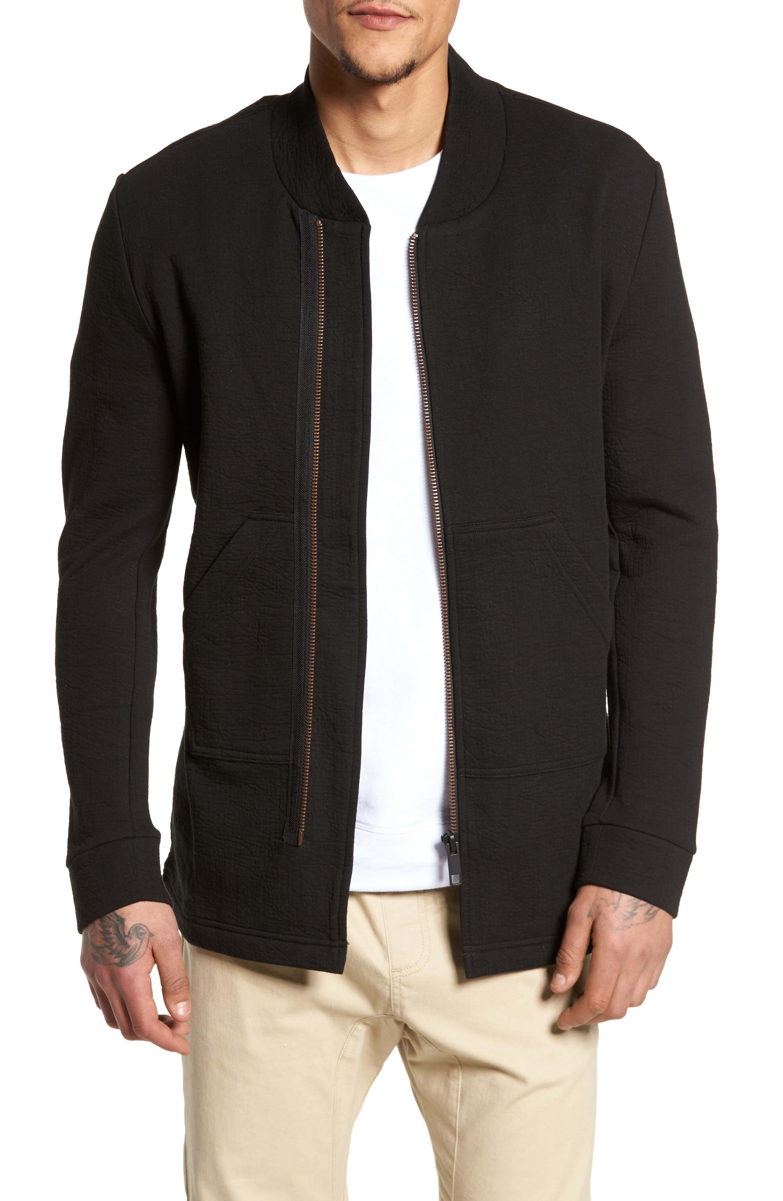 Zip Fleece Track Jacket,                             Main thumbnail 1, color,                             Black