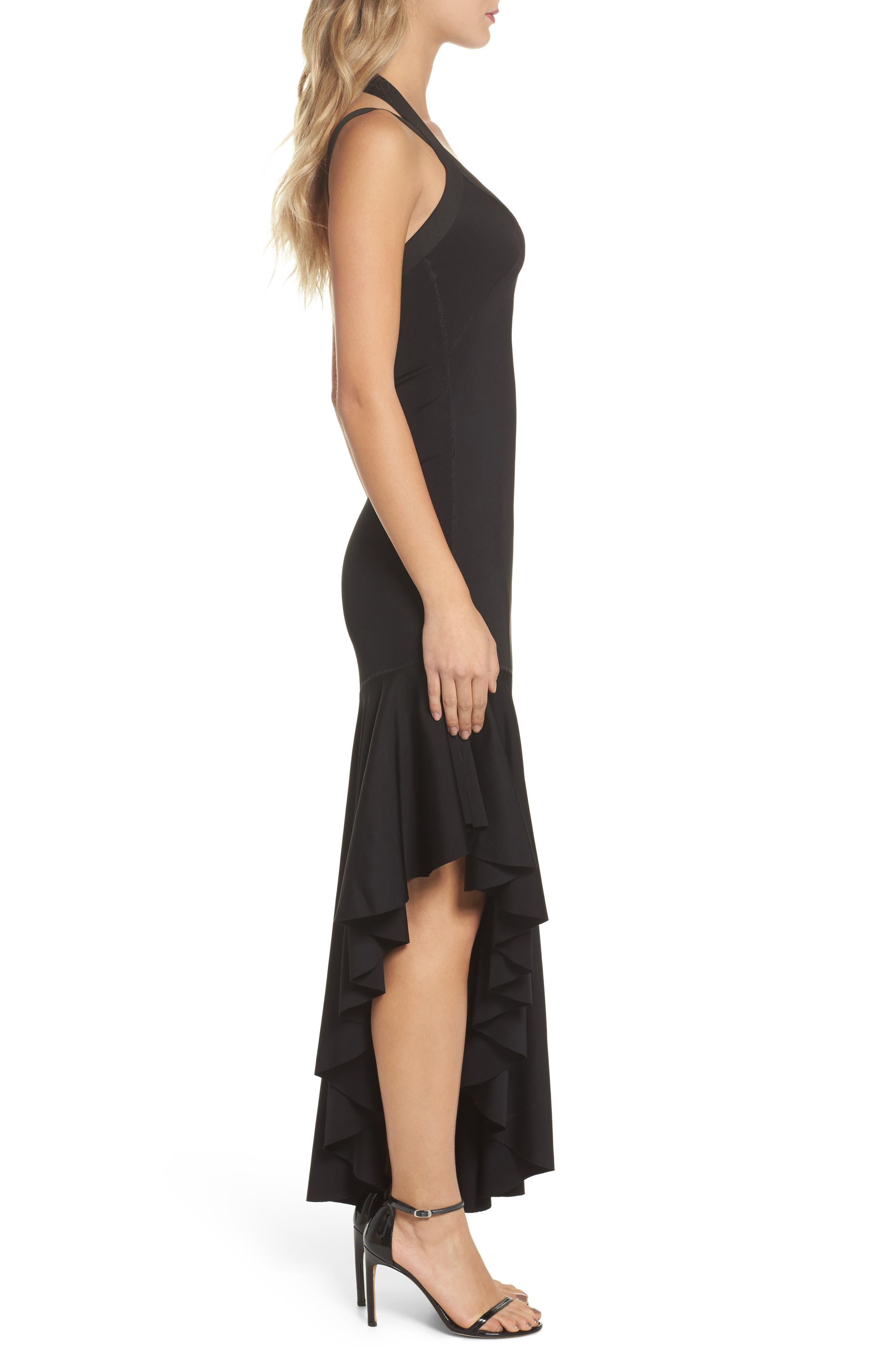 Tara High/Low Knit Dress,                             Alternate thumbnail 3, color,                             Black