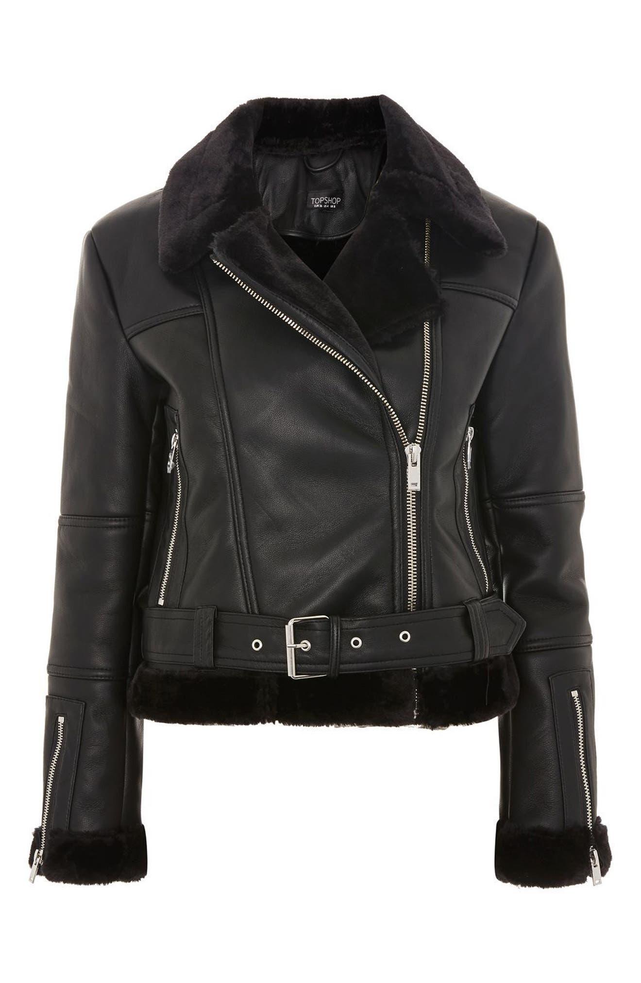 Finsbury Cropped Faux Shearling Biker Jacket,                             Alternate thumbnail 5, color,                             Black