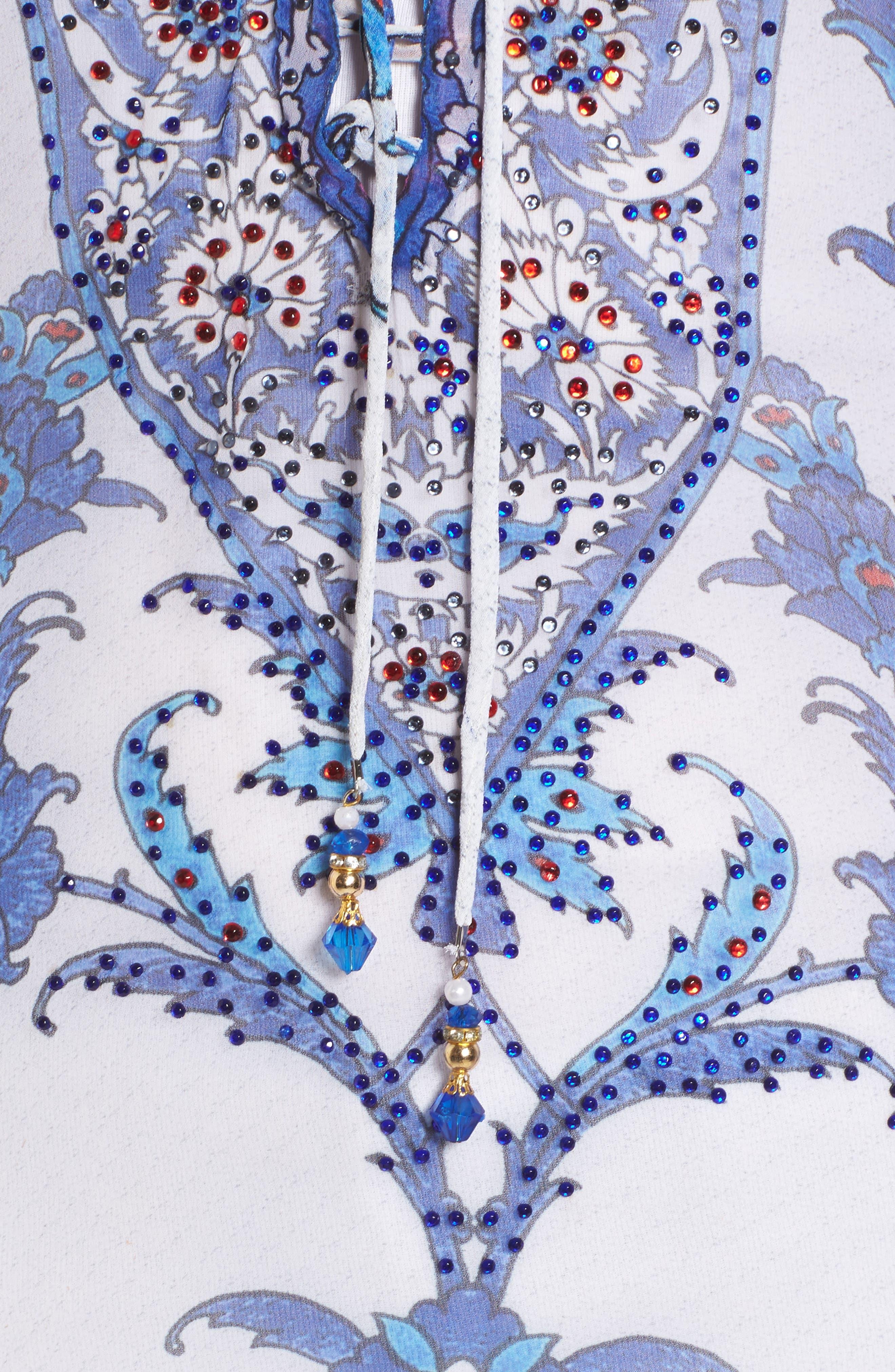 Mumbai Short Kaftan,                             Alternate thumbnail 5, color,                             Blue/ White