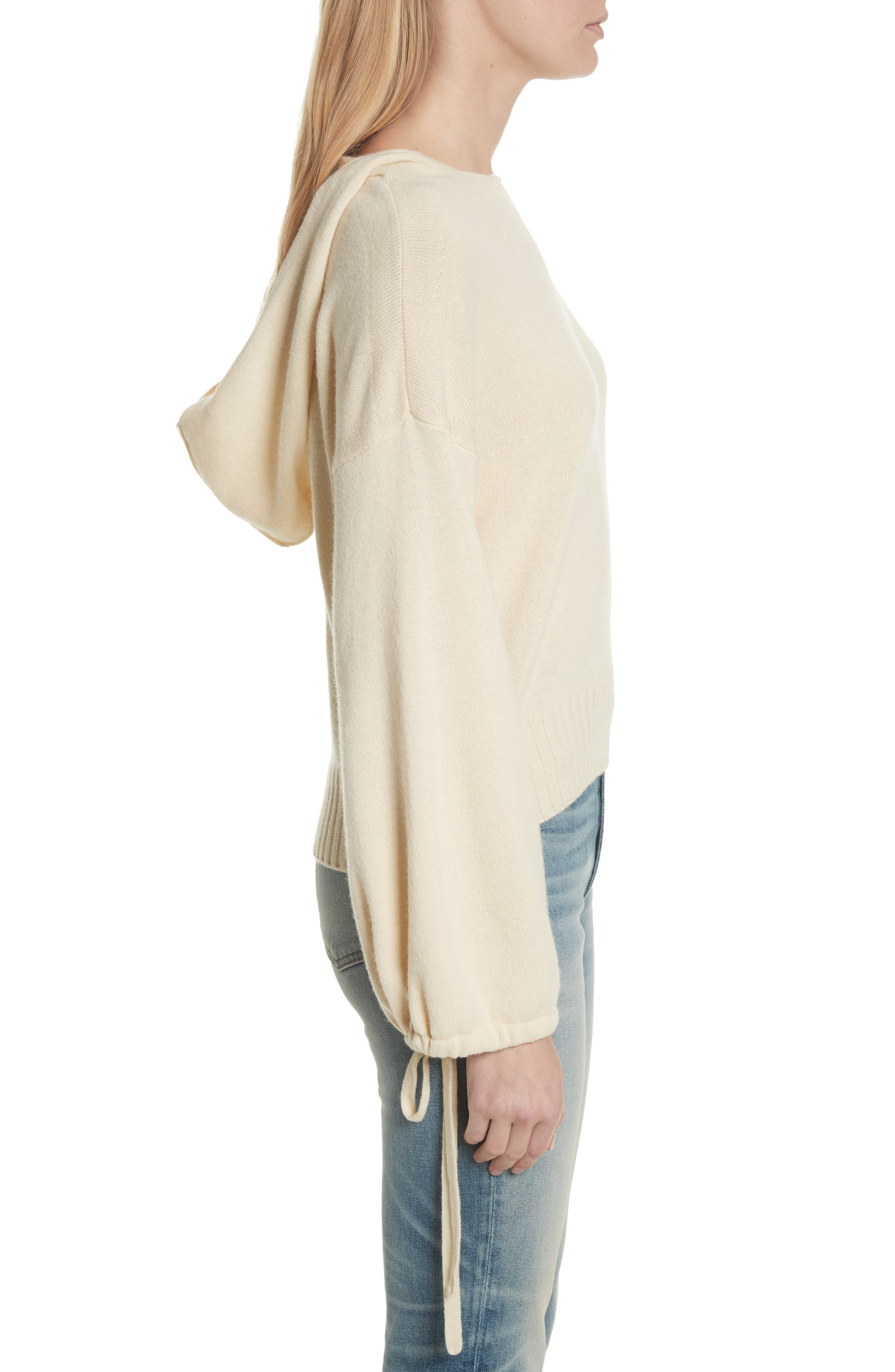Scrunch Sleeve Wool & Cashmere Hoodie,                             Alternate thumbnail 3, color,                             Buttercream