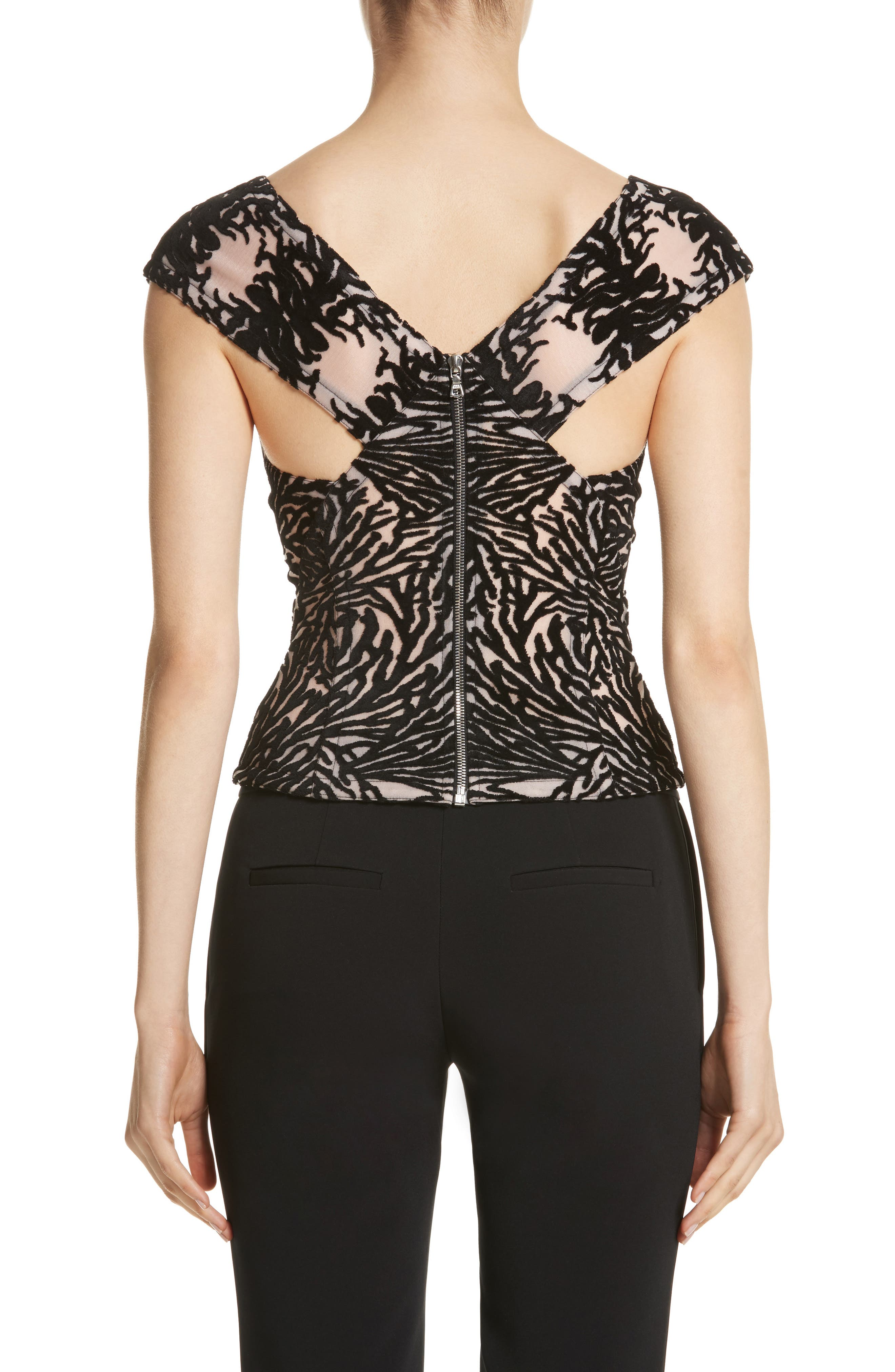 Alternate Image 2  - Yigal Azrouël Coral Reef Burnout Off the Shoulder Top