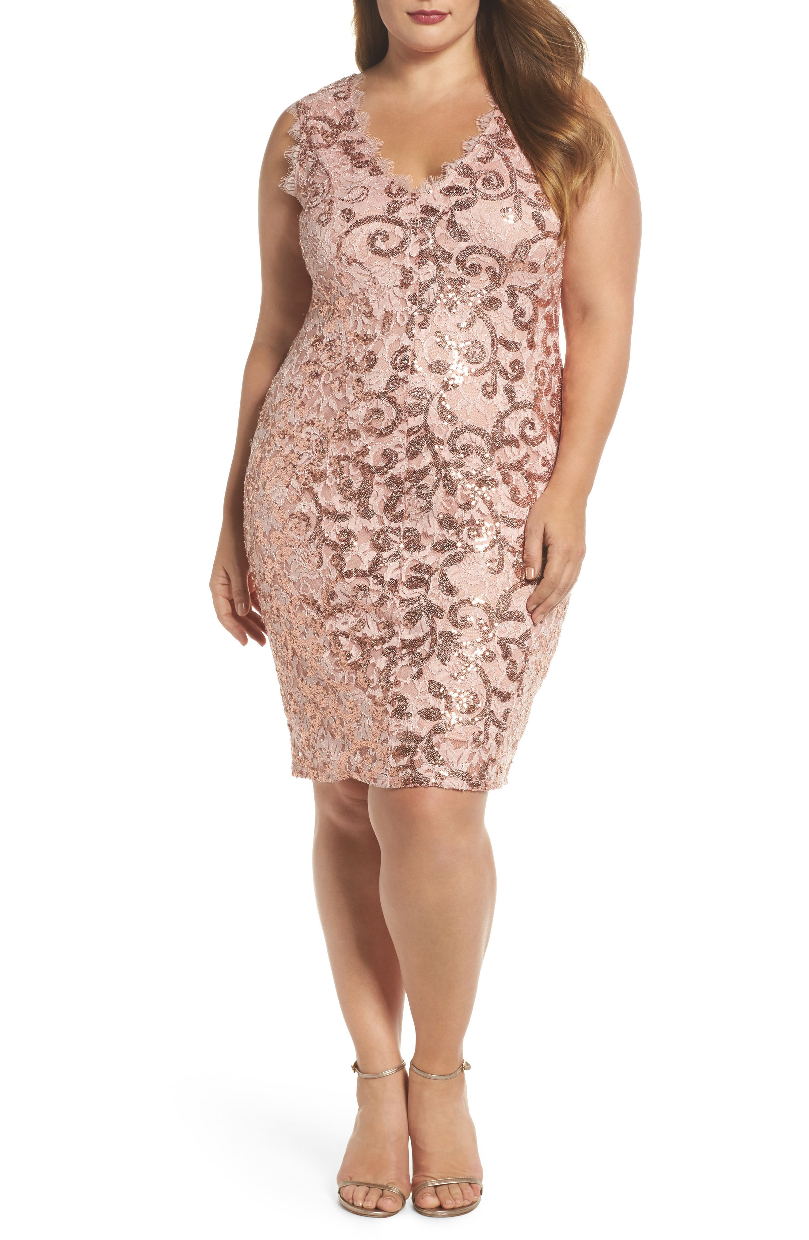 Alternate Image 1 Selected - Marina Sequin Lace Party Dress (Plus Size)
