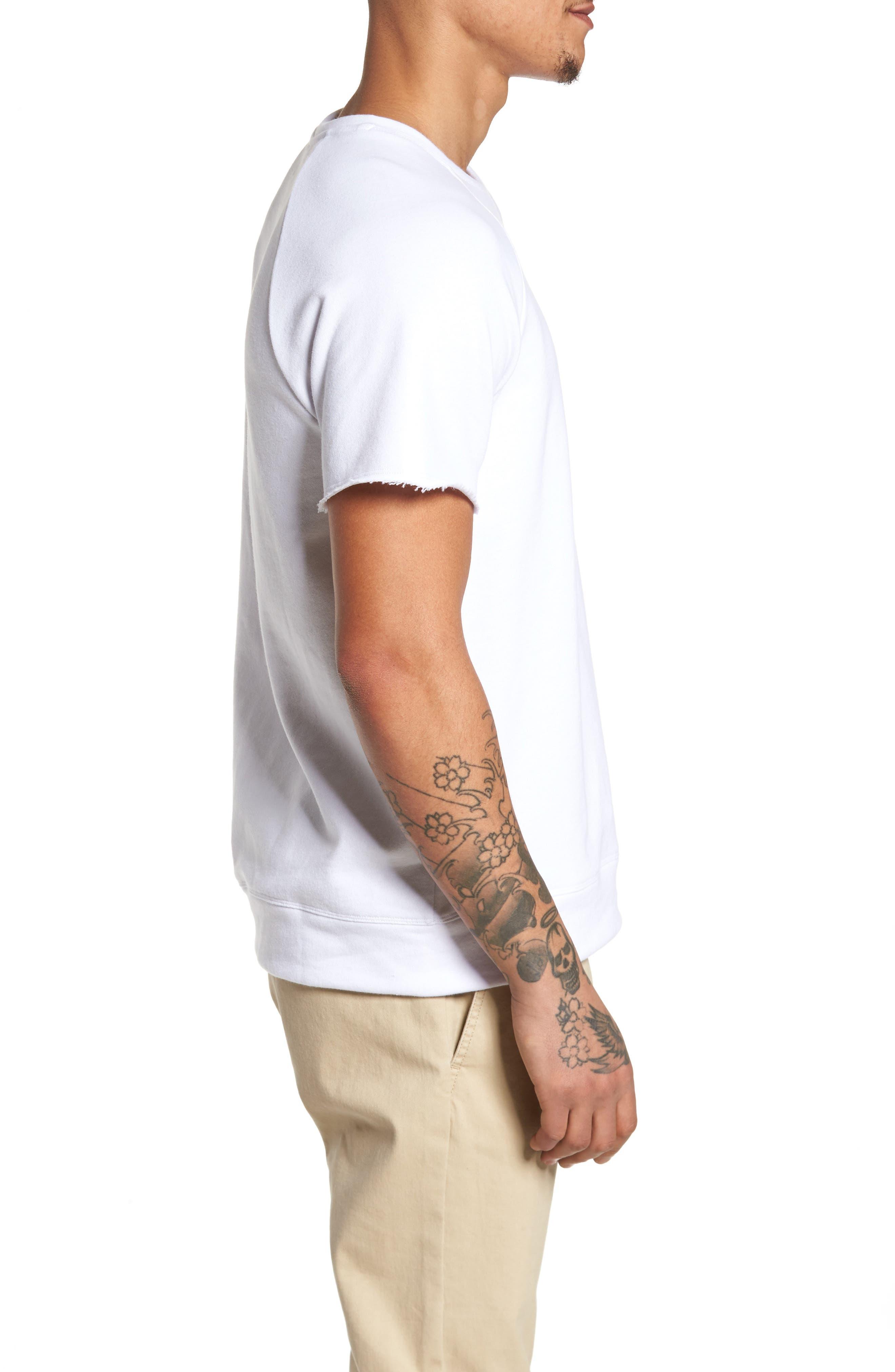 Raw Edge Raglan T-Shirt,                             Alternate thumbnail 3, color,                             White