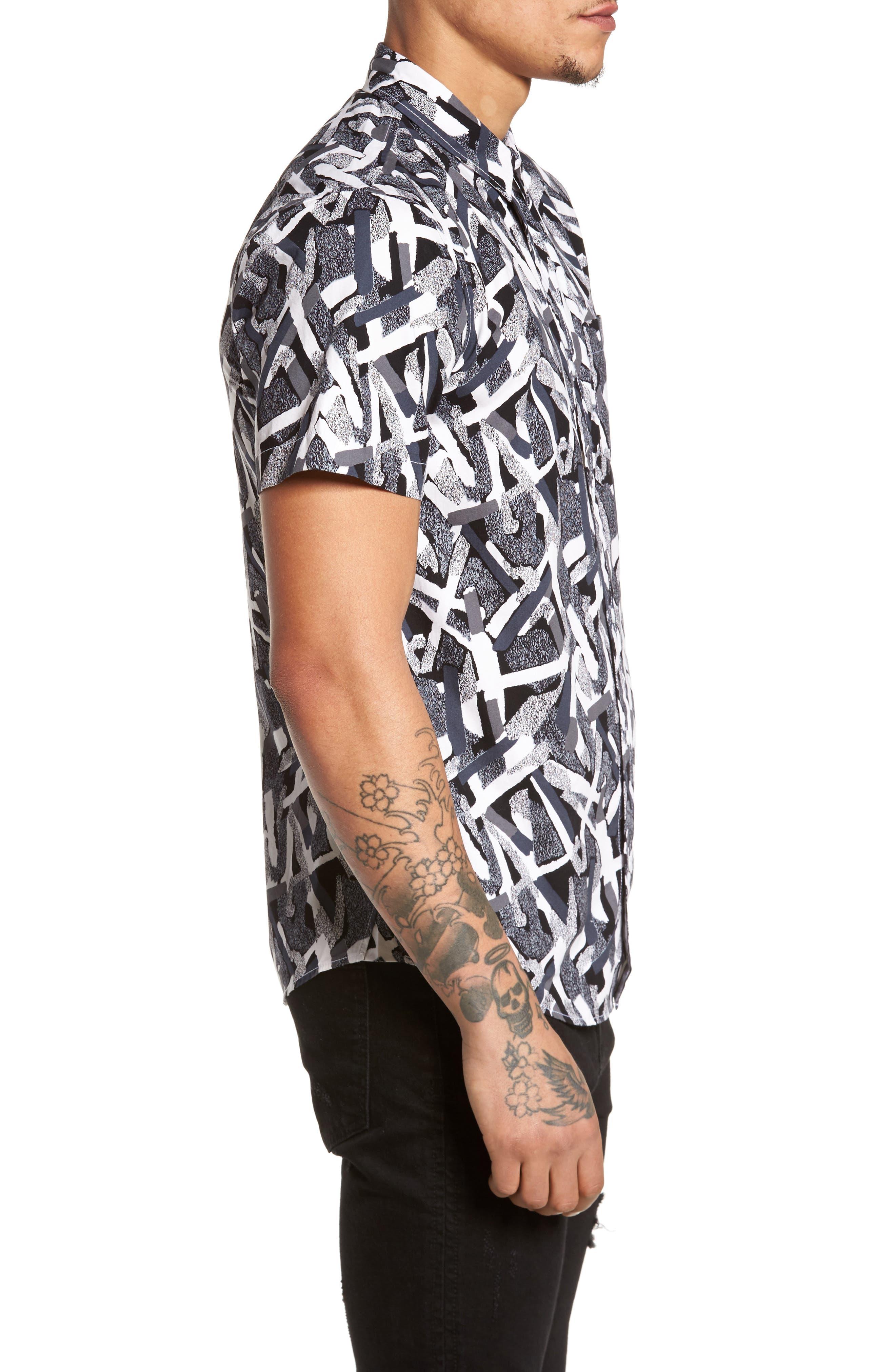 Short Sleeve Print Poplin Shirt,                             Alternate thumbnail 4, color,                             Grey Geo Cross Hatch
