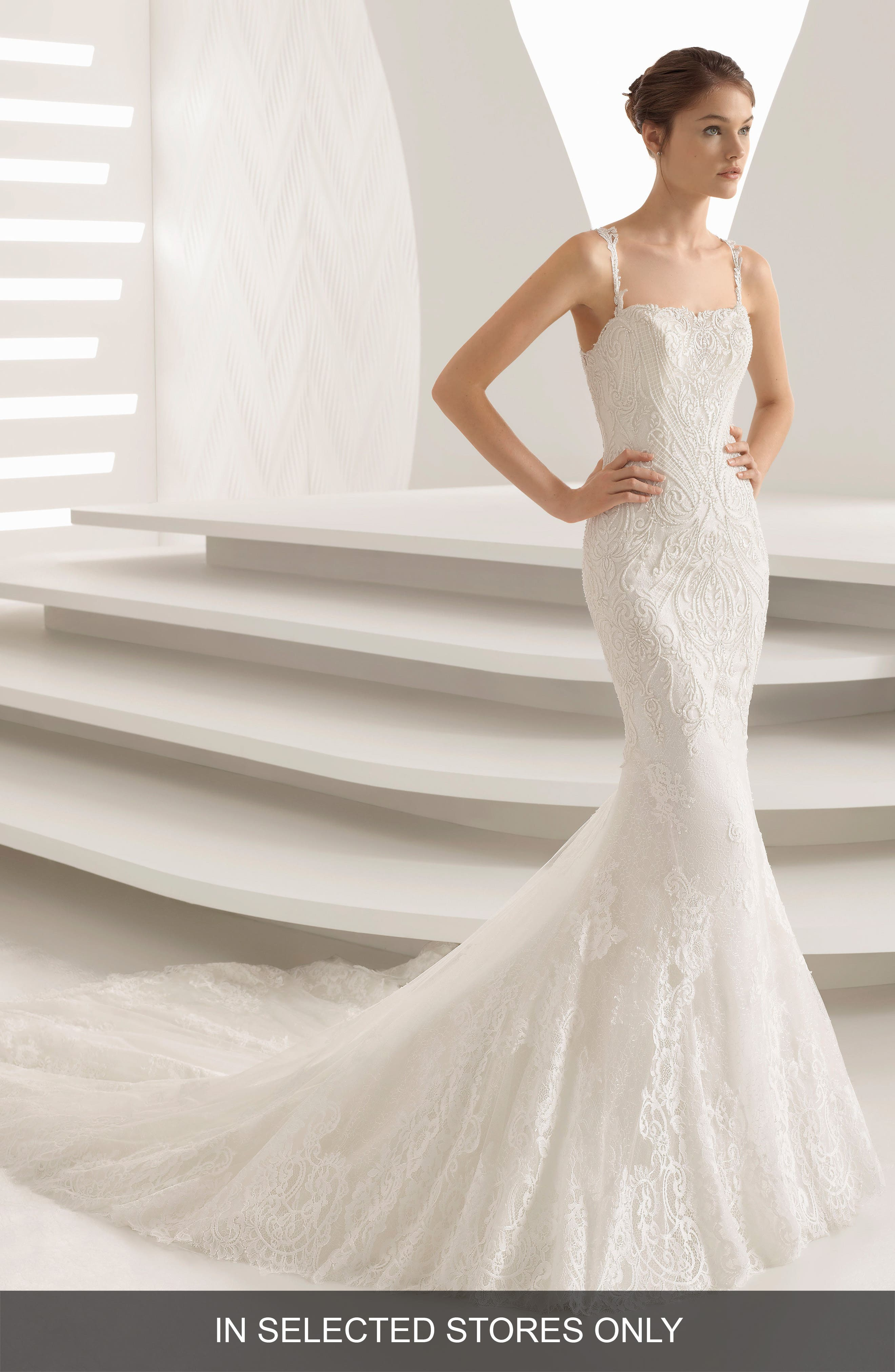 Abadia Lace Mermaid Gown,                         Main,                         color, Natural
