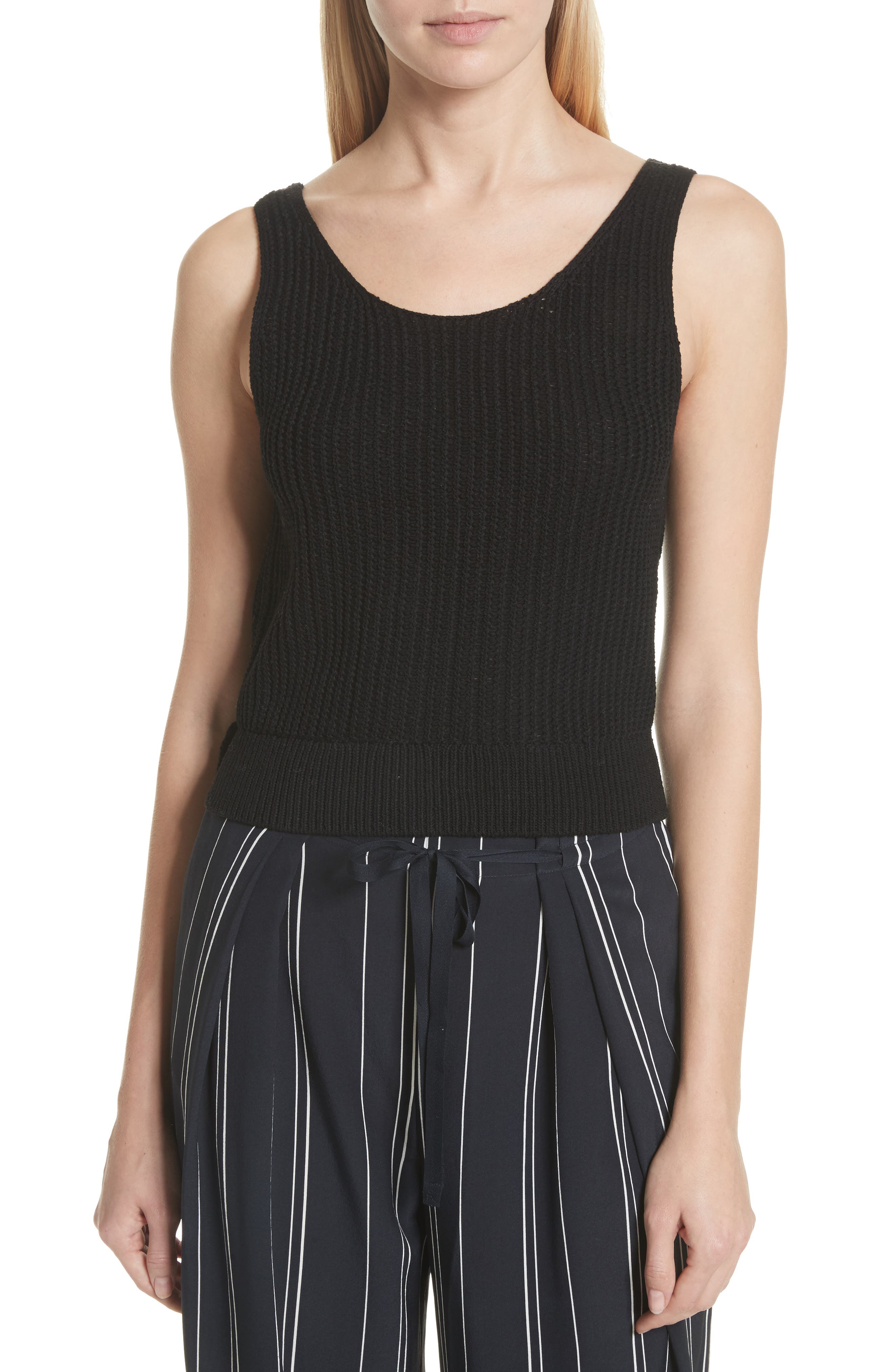 Crossover Back Tank Sweater,                         Main,                         color, Black