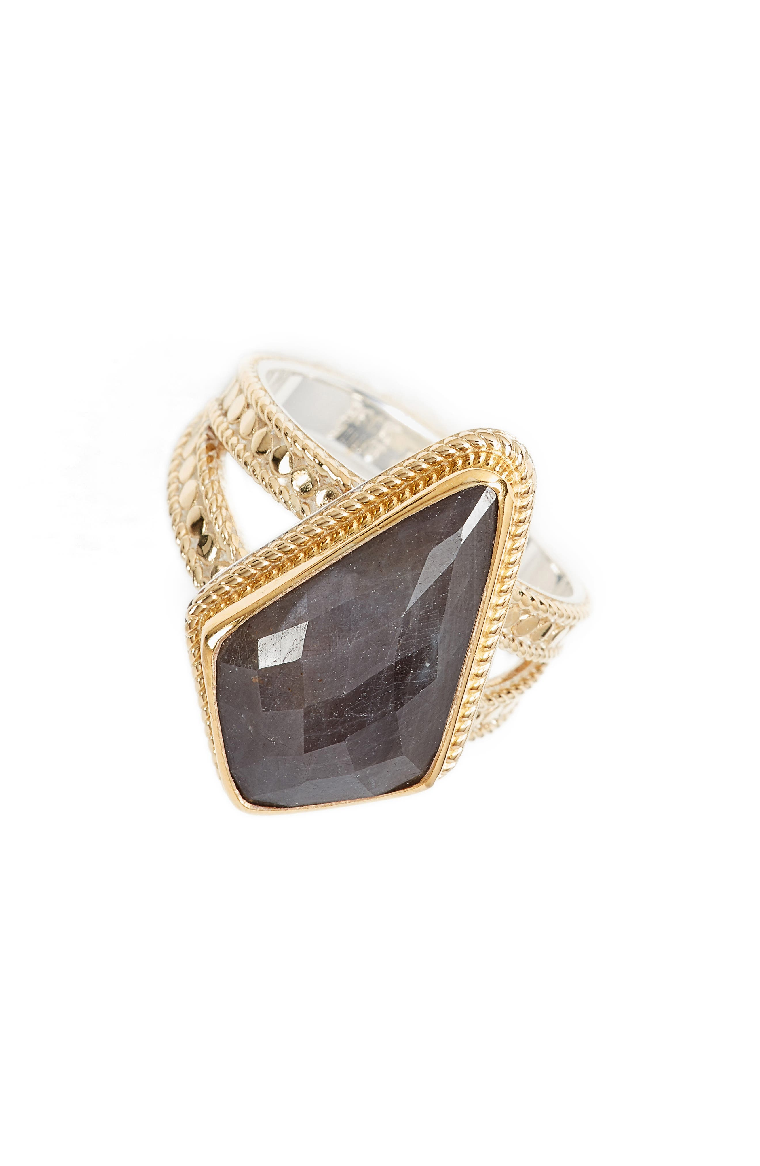 Grey Sapphire Kite Ring,                             Main thumbnail 1, color,                             Gold/ Silver/ Grey Sapphire