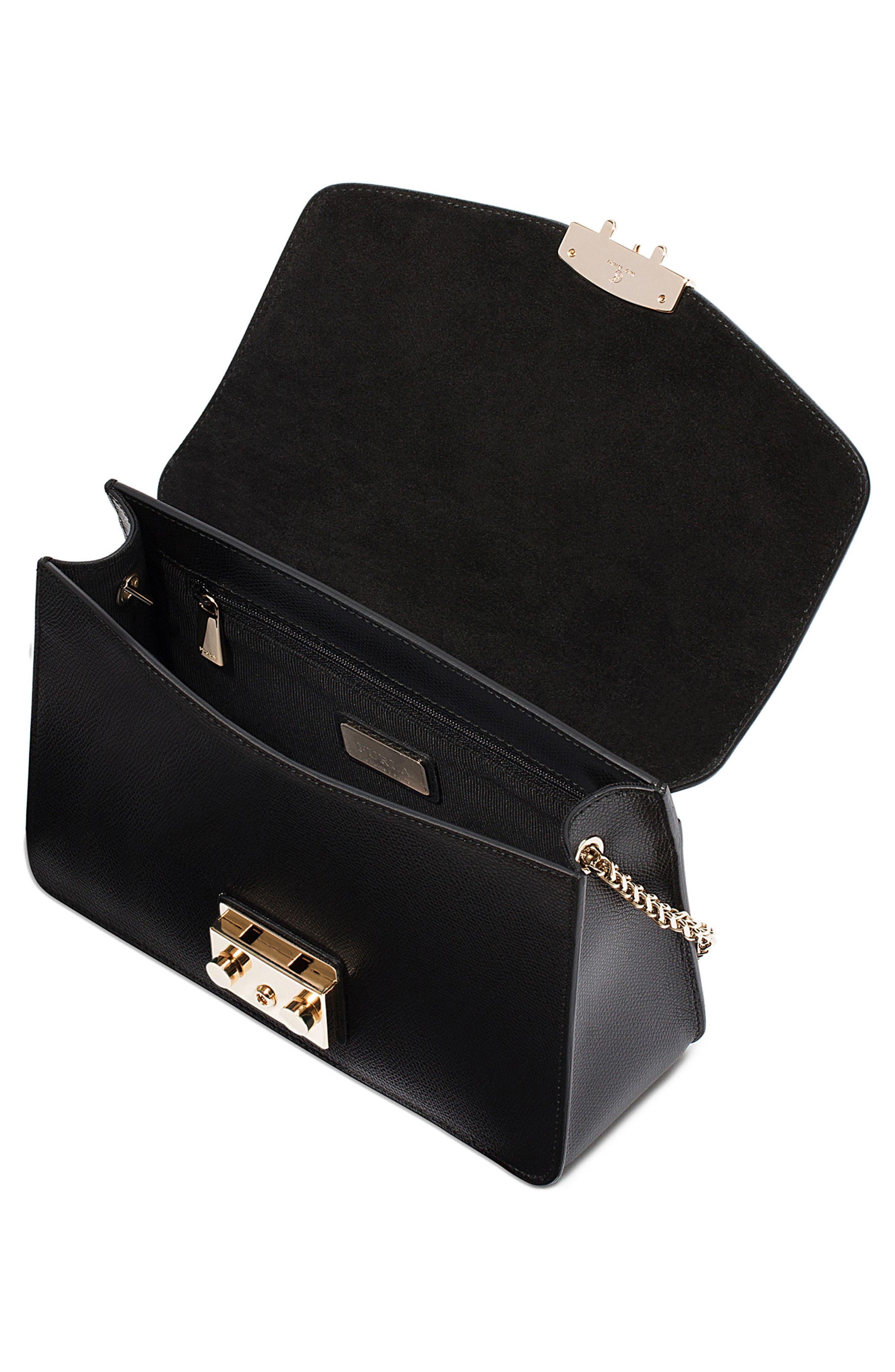 Small Metropolis Leather Crossbody Bag,                             Alternate thumbnail 3, color,                             Onyx