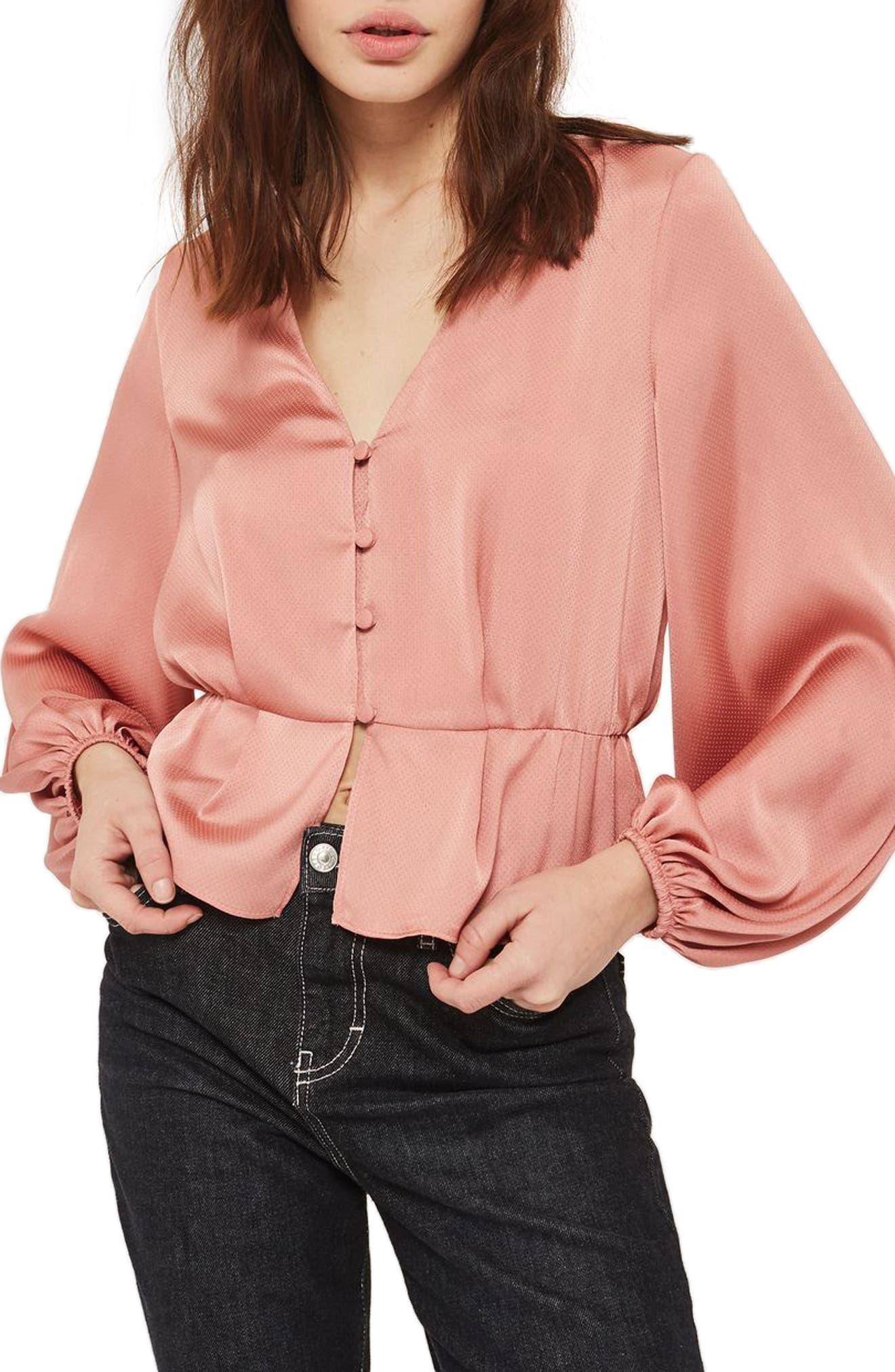 Emilia Blouson Sleeve Blouse,                         Main,                         color, Rose