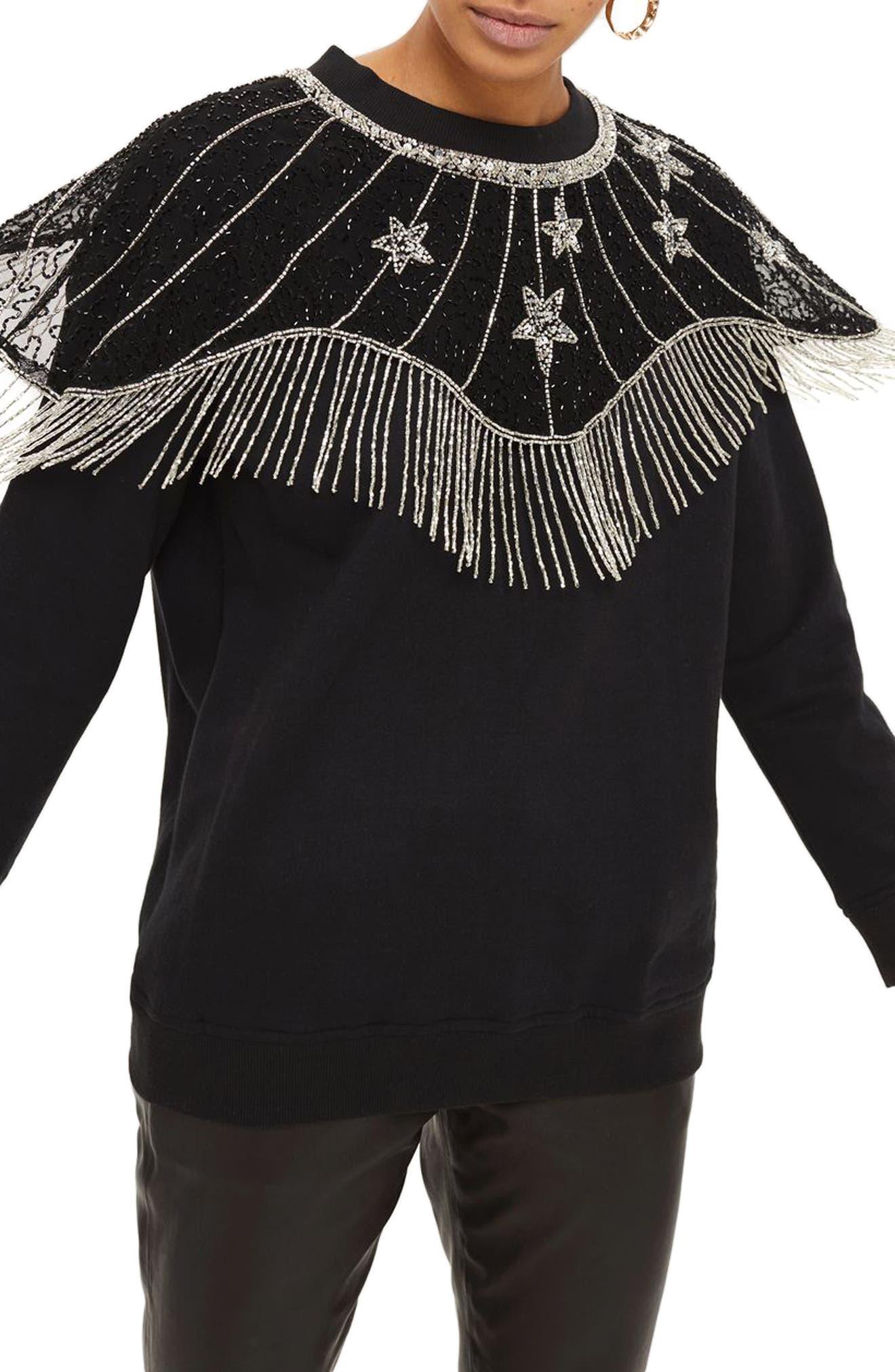 Star Cape Embellished Sweatshirt,                         Main,                         color, Black Multi