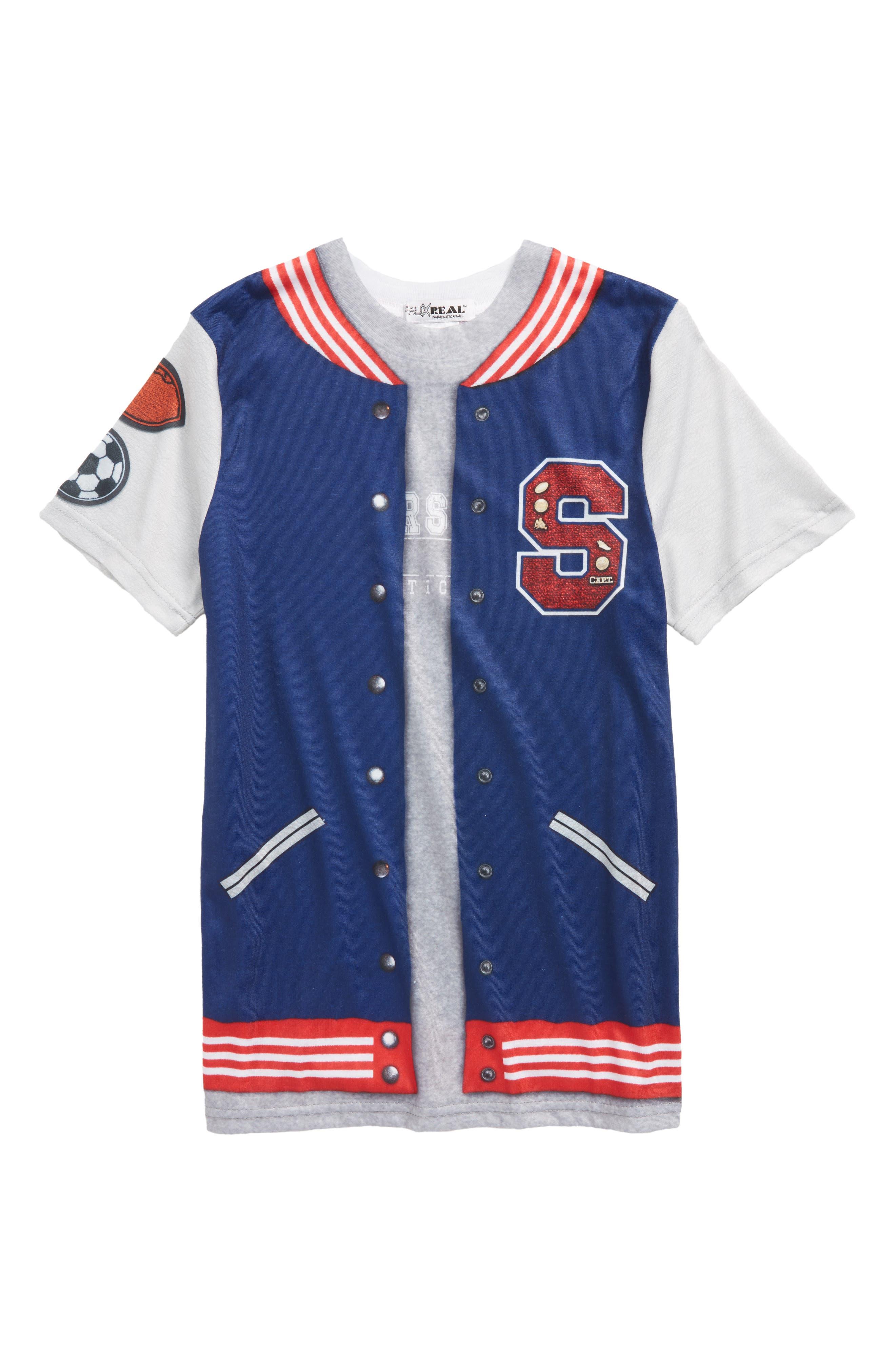 Letterman Jacket Print T-Shirt,                         Main,                         color, Blue