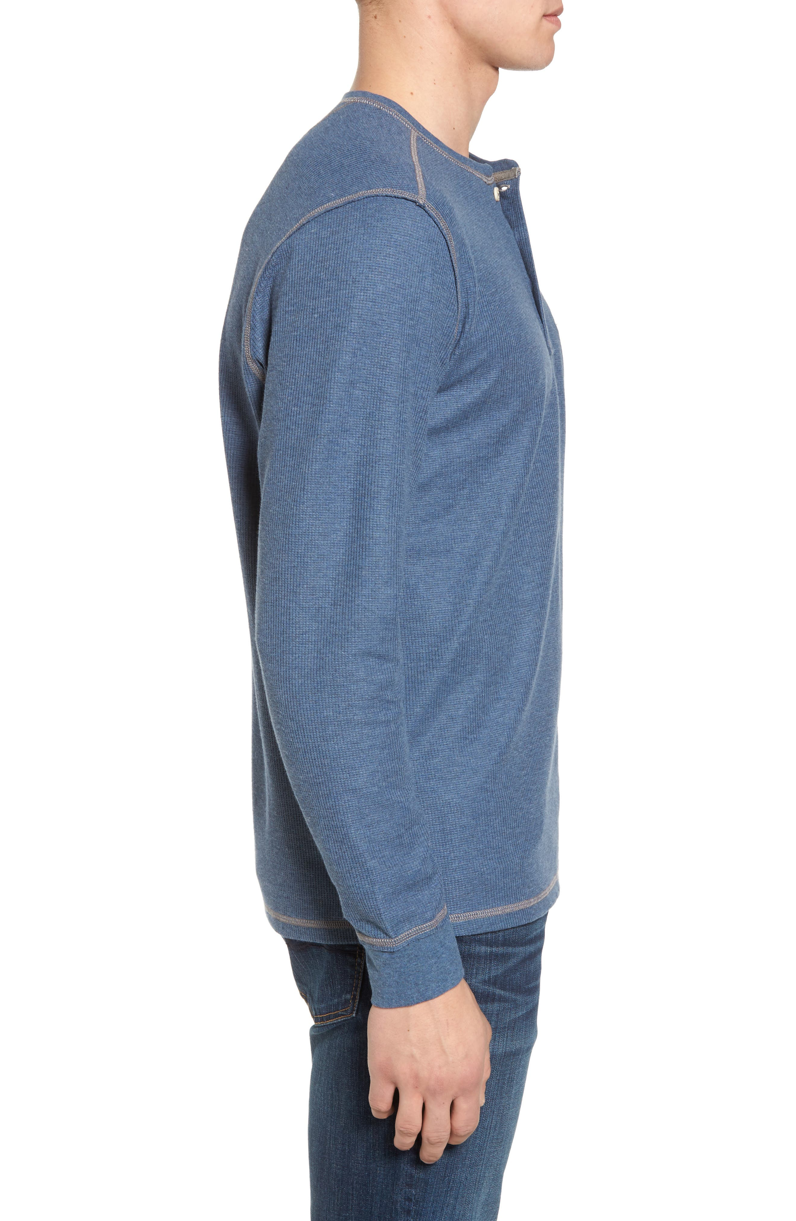 Island Thermal Standard Fit Thermal Henley,                             Alternate thumbnail 3, color,                             Cadet Heather
