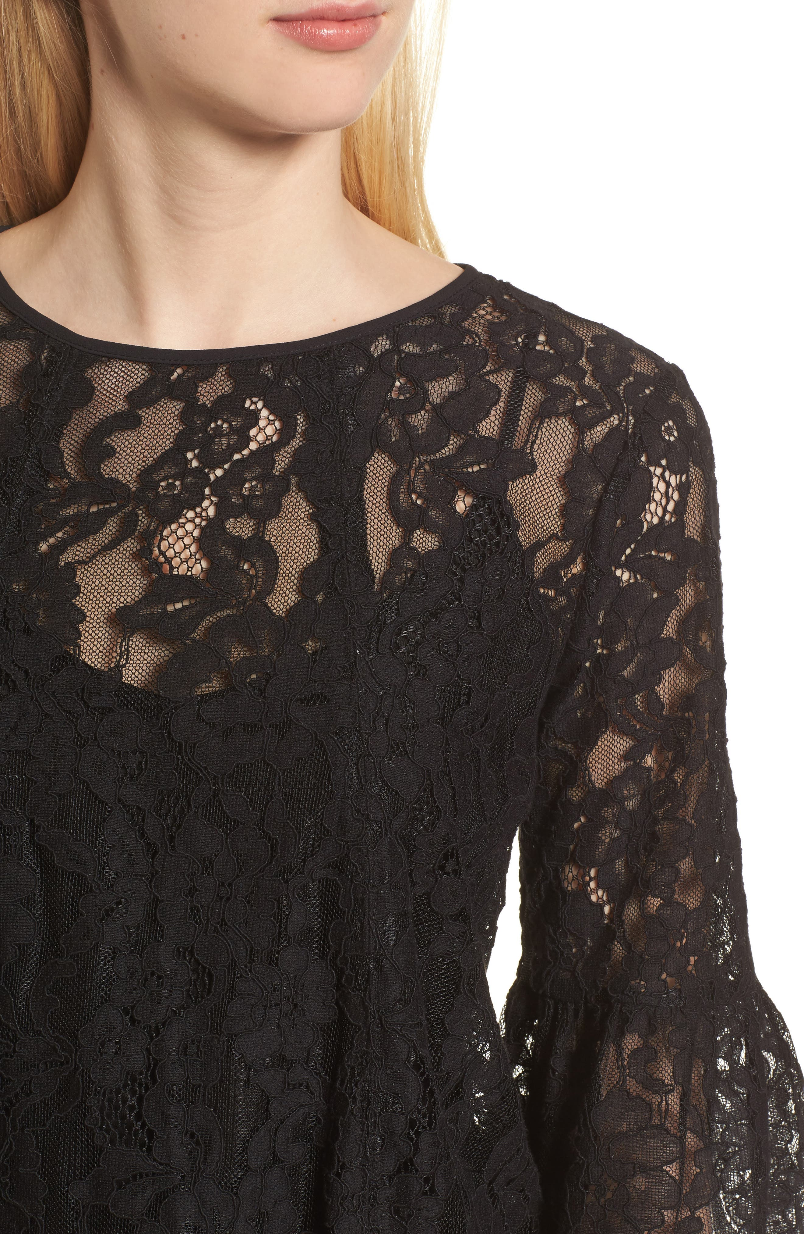 Bell Sleeve Lace Top,                             Alternate thumbnail 4, color,                             Black