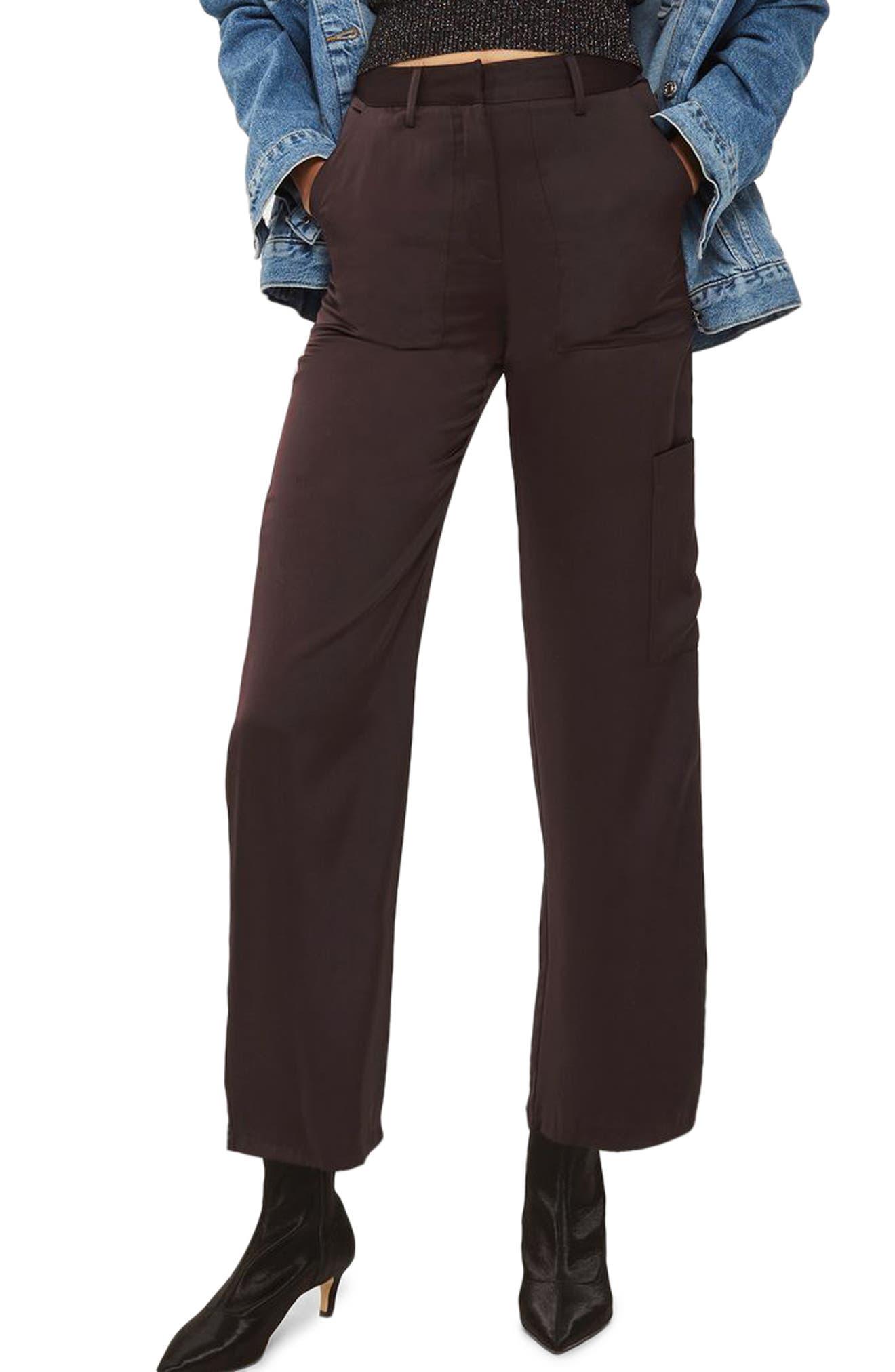 Satin Wide Leg Utility Trousers,                         Main,                         color, Aubergine