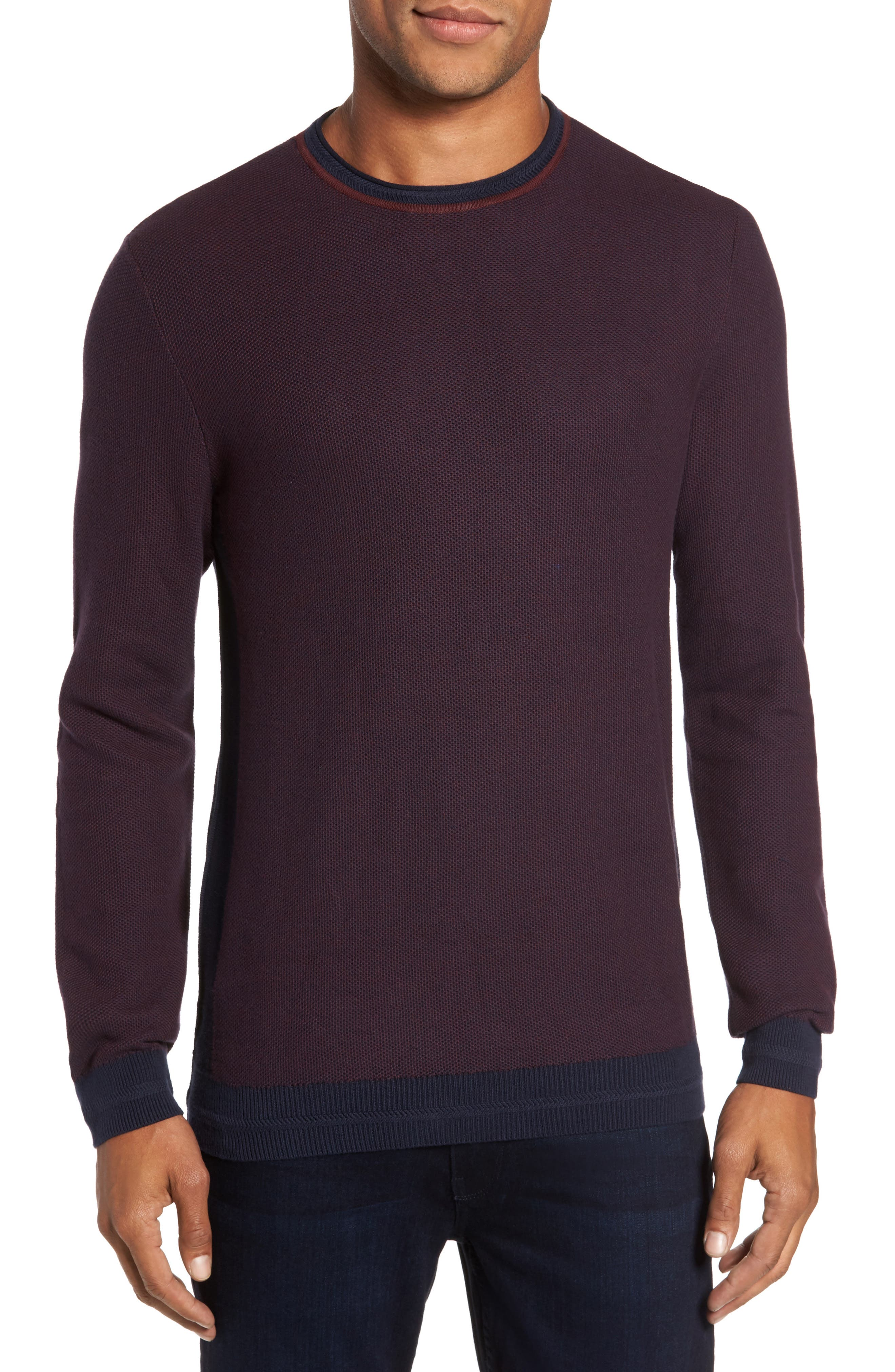 Space Dye Slim Fit Sweater,                         Main,                         color, Navy/ Port