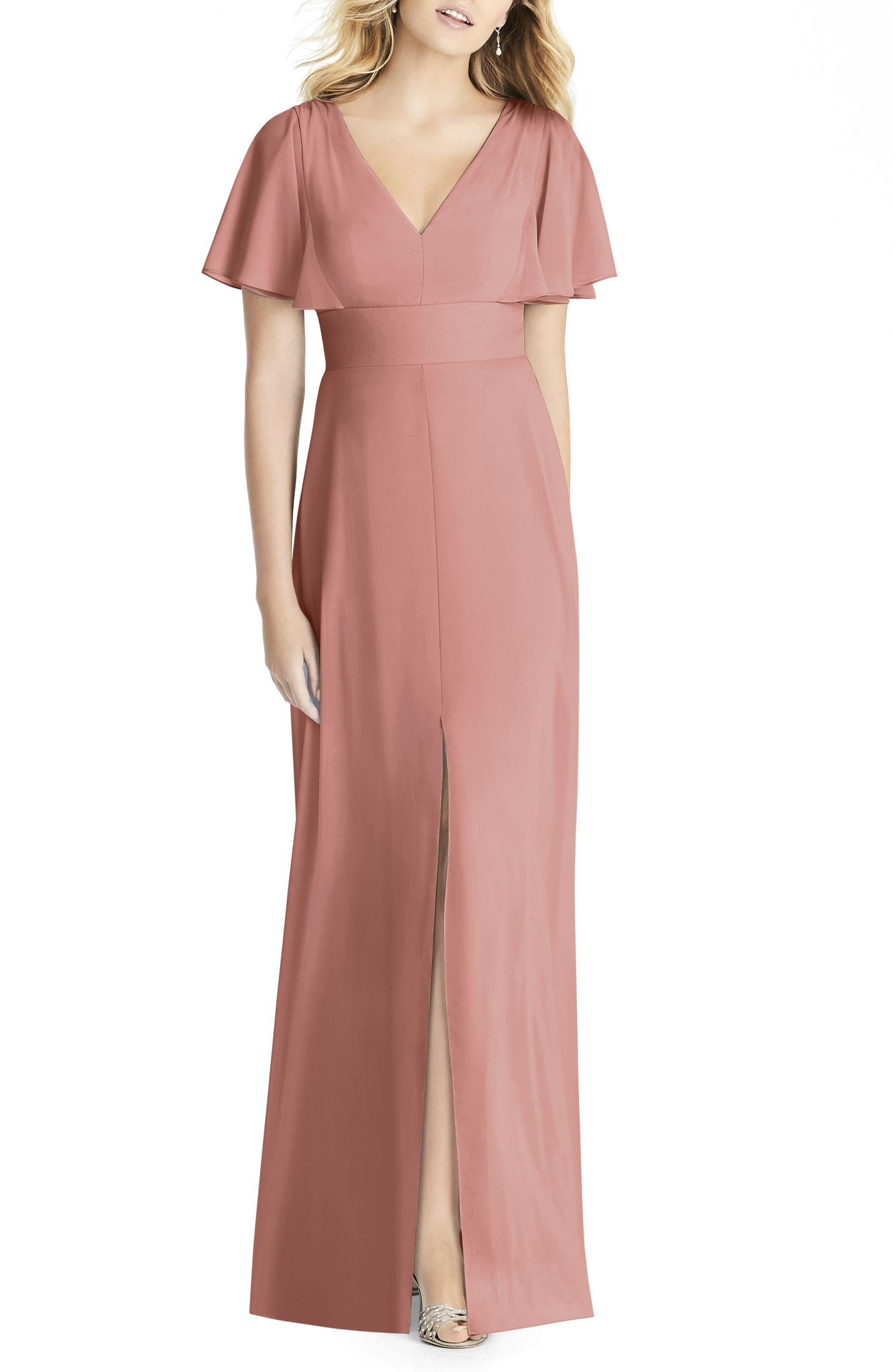 Social Bridesmaids Split Sleeve Chiffon Gown
