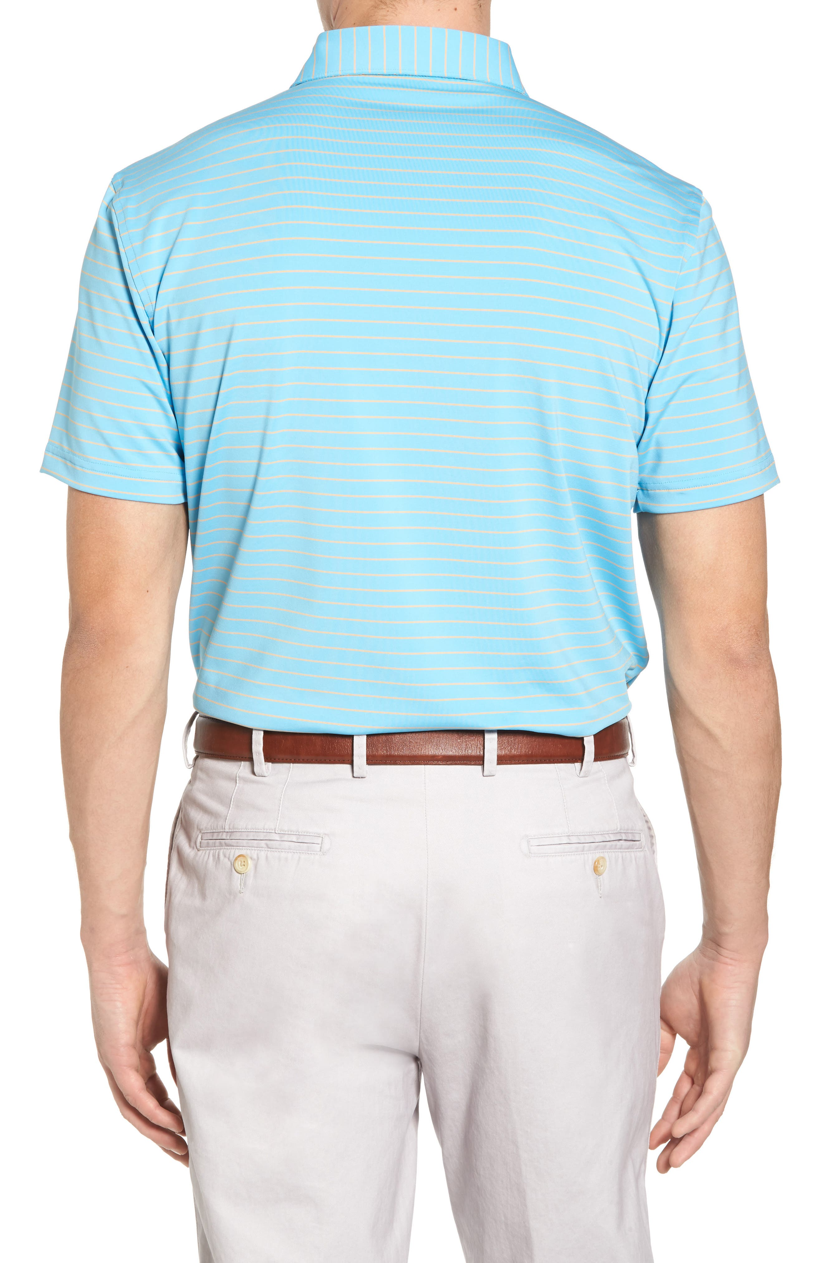 Halifax Pinstripe Stretch Jersey Polo,                             Alternate thumbnail 2, color,                             Grotto Blue