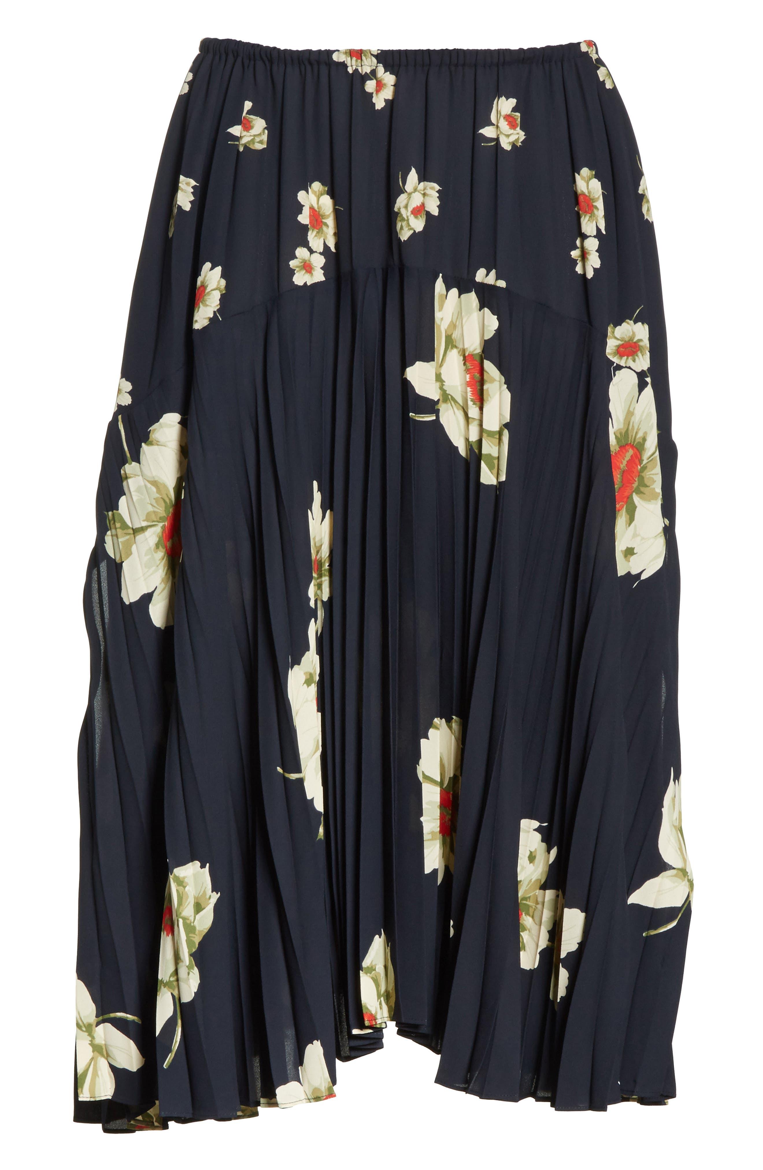 Gardenia Floral Pleated Skirt,                             Alternate thumbnail 6, color,                             Coastal