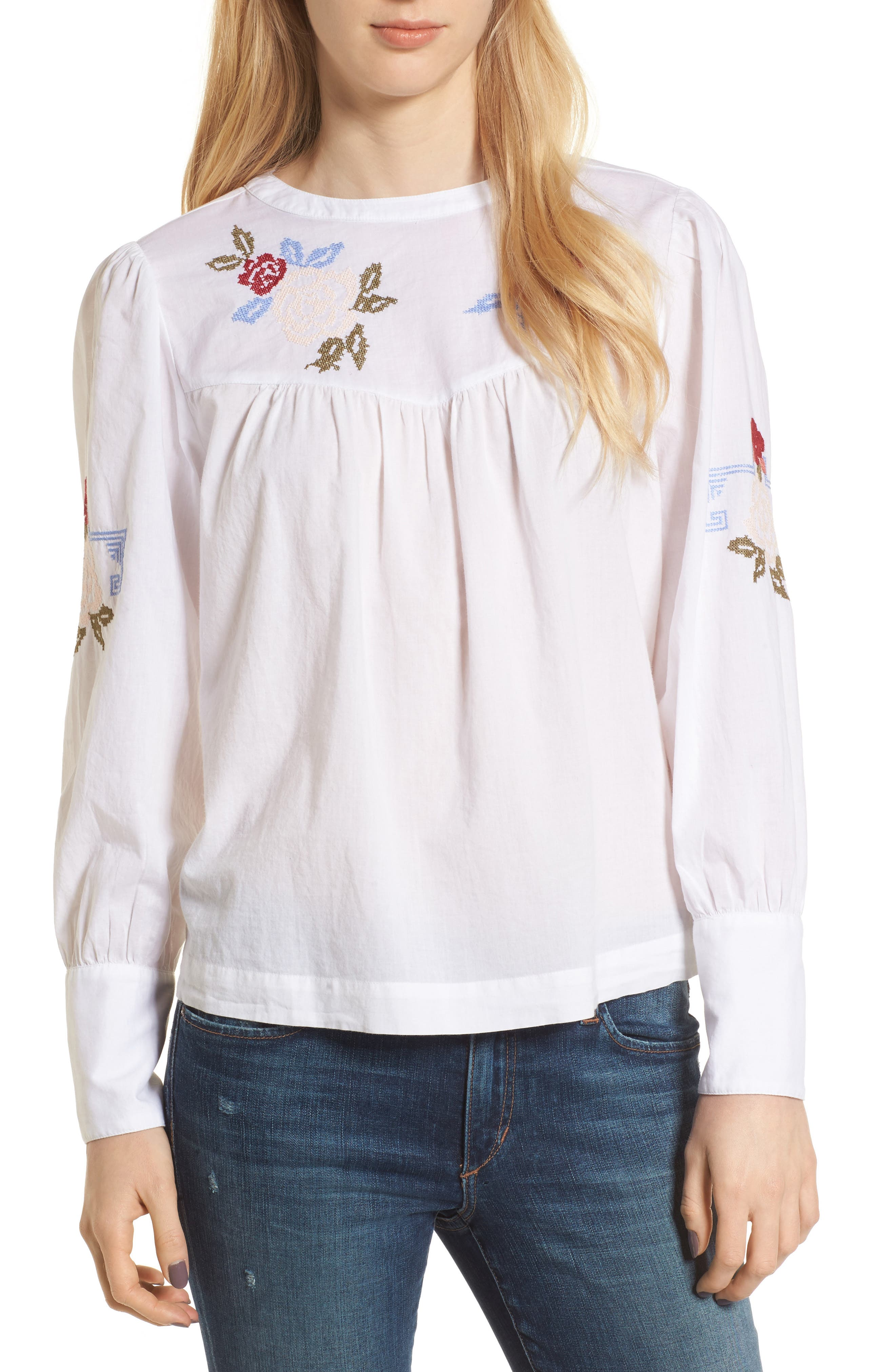 Embroidered Top,                         Main,                         color, White Combo