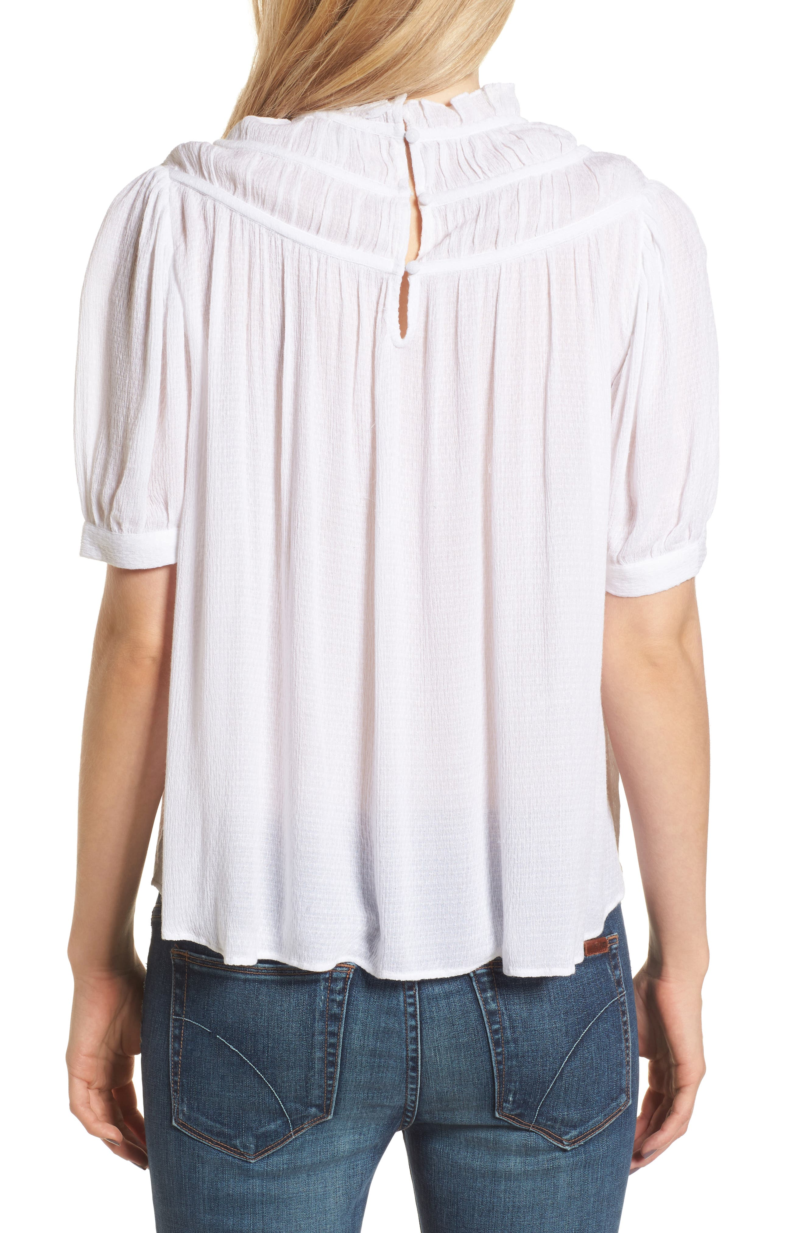 Ruched Puff Sleeve Top,                             Alternate thumbnail 2, color,                             White