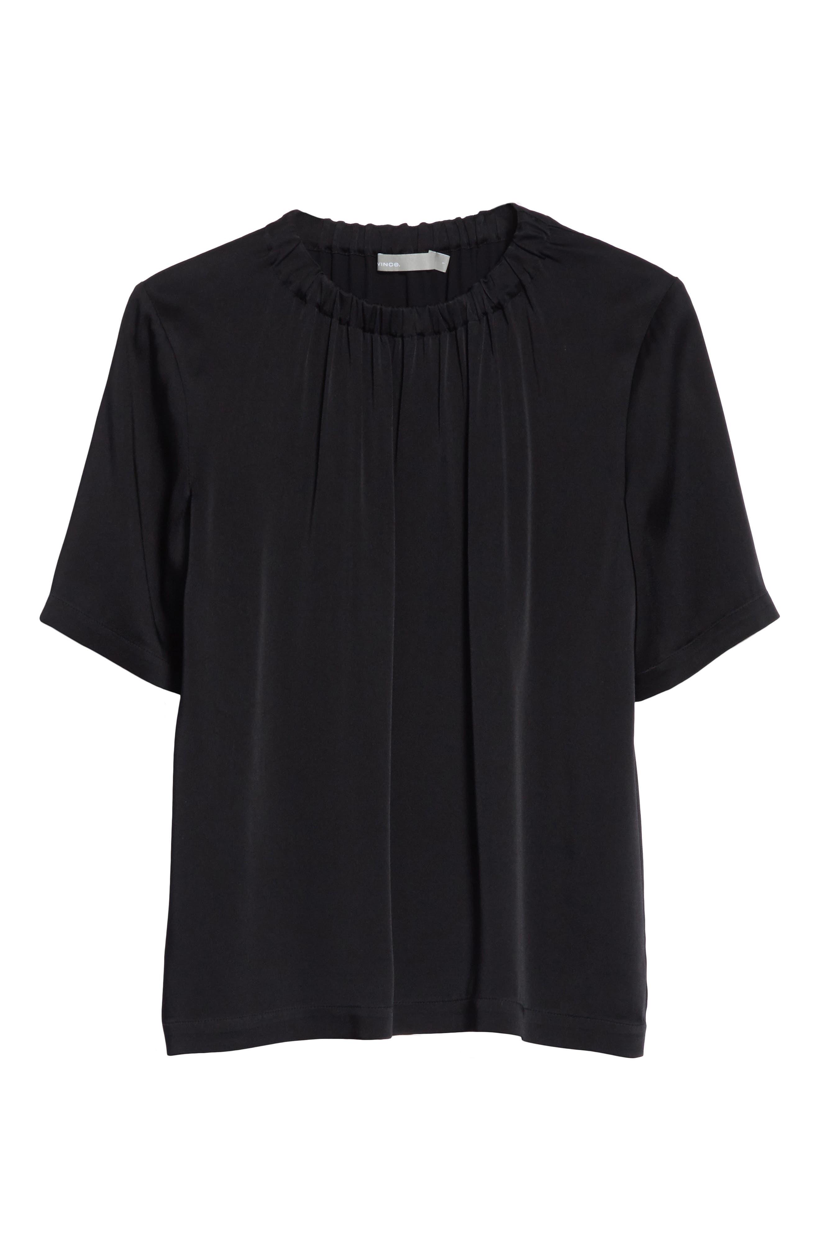 Gathered Neck Short Sleeve Top,                             Alternate thumbnail 6, color,                             Black