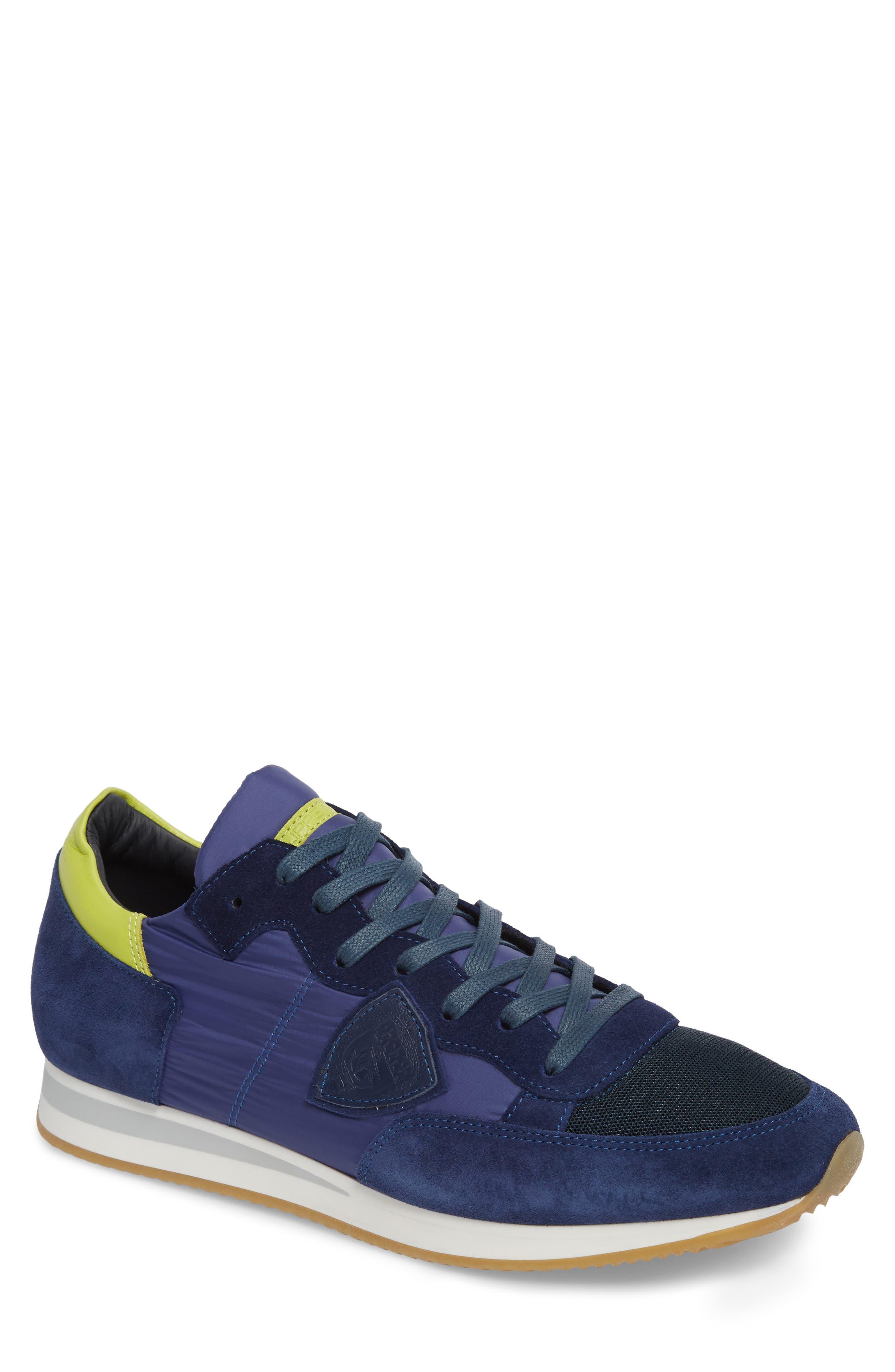 Tropez Low Top Sneaker,                             Main thumbnail 1, color,                             Blue/ Citron