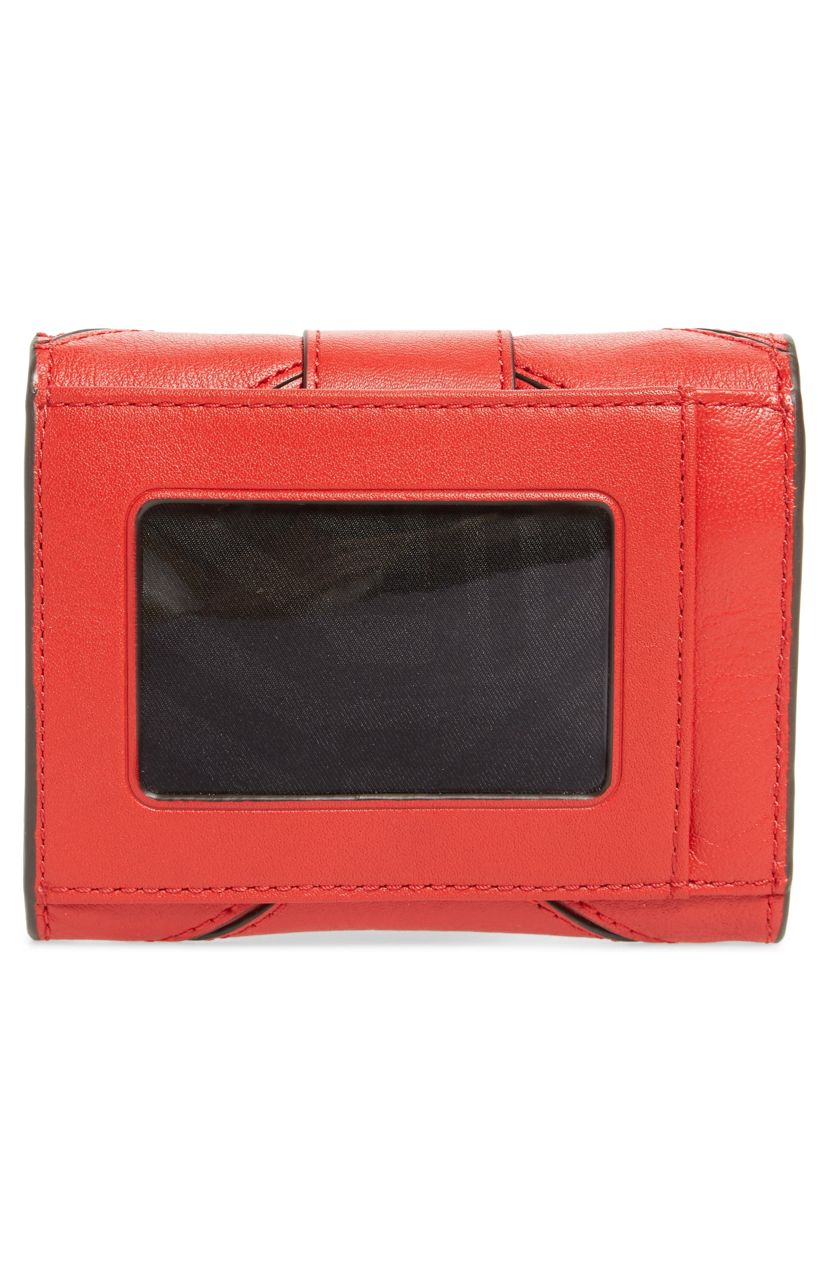 Love Lock Leather Wallet,                             Alternate thumbnail 3, color,                             Carnation Red