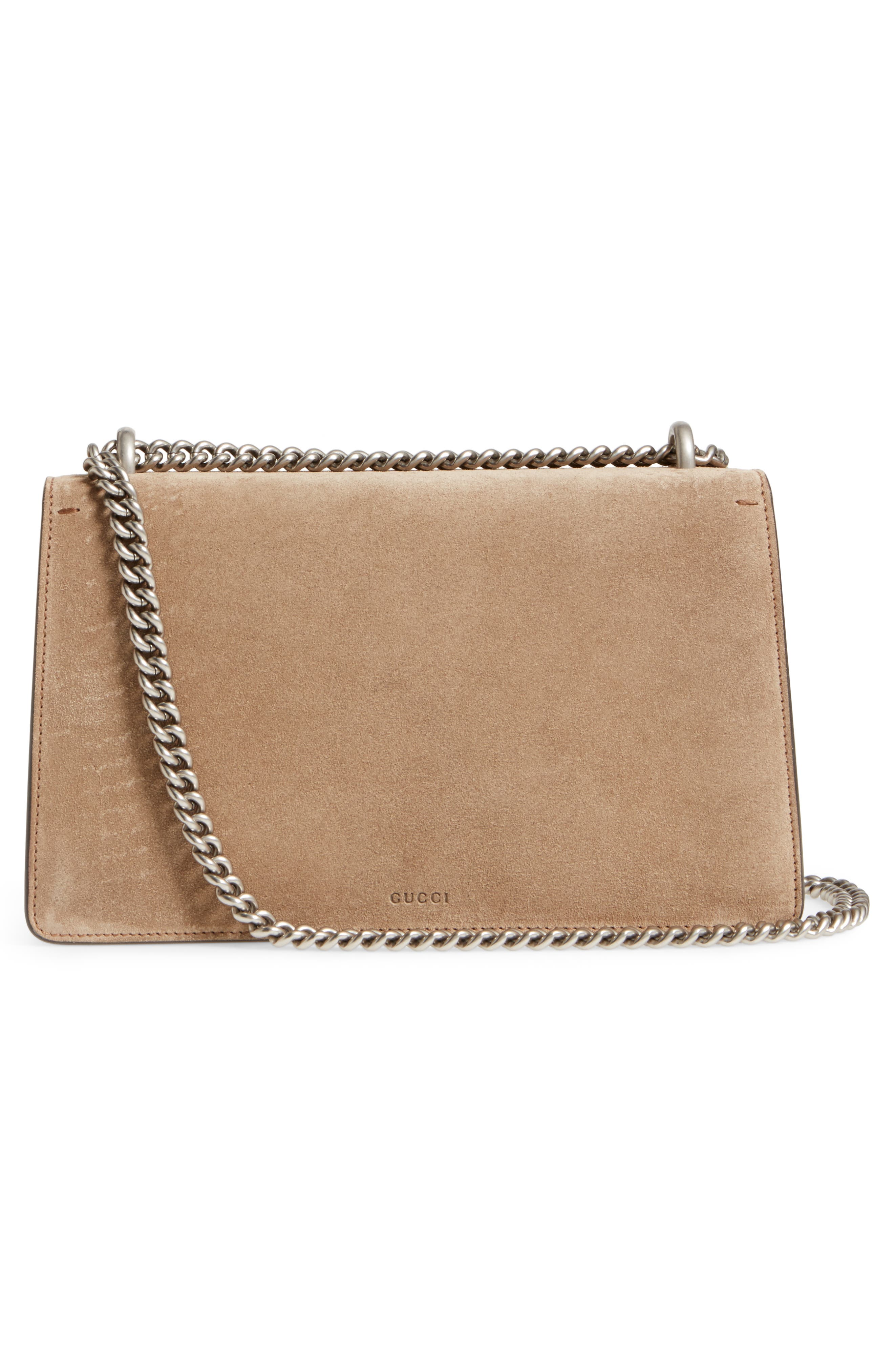 Small Dionysus Suede Shoulder Bag,                             Alternate thumbnail 3, color,                             Taupe