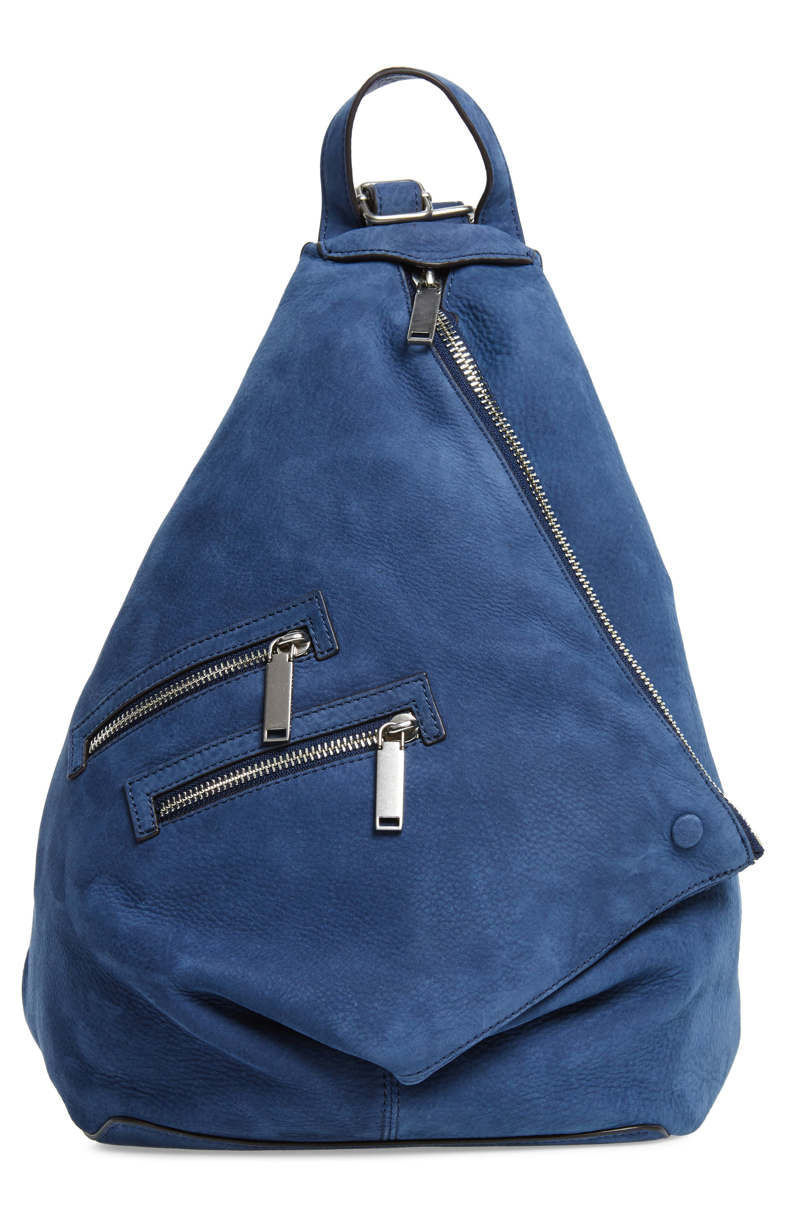 Jamie Nubuck Leather Backpack,                             Main thumbnail 1, color,                             True Navy