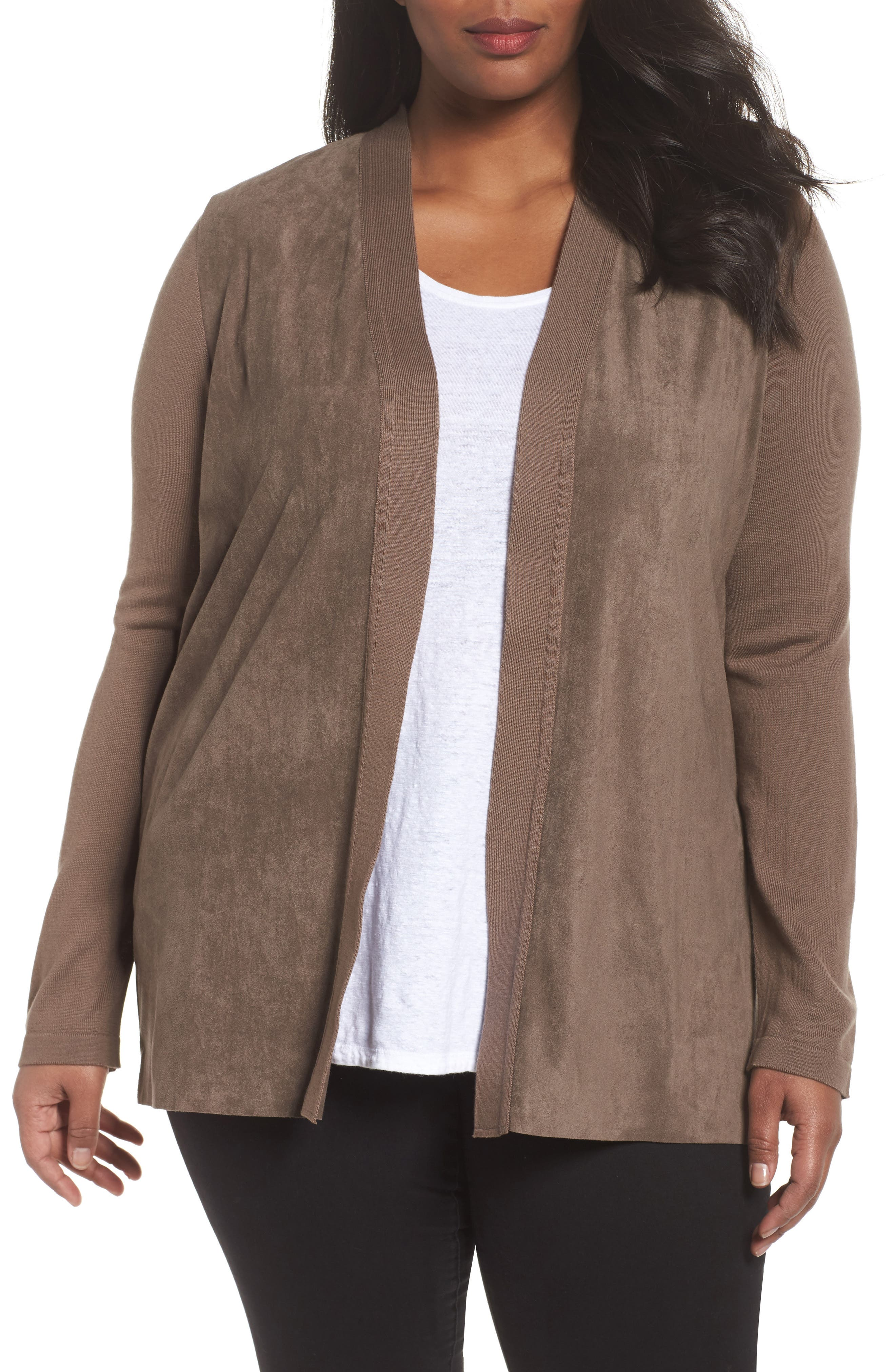 Marilena Faux Suede Front Cardigan,                             Main thumbnail 1, color,                             Dark Beige
