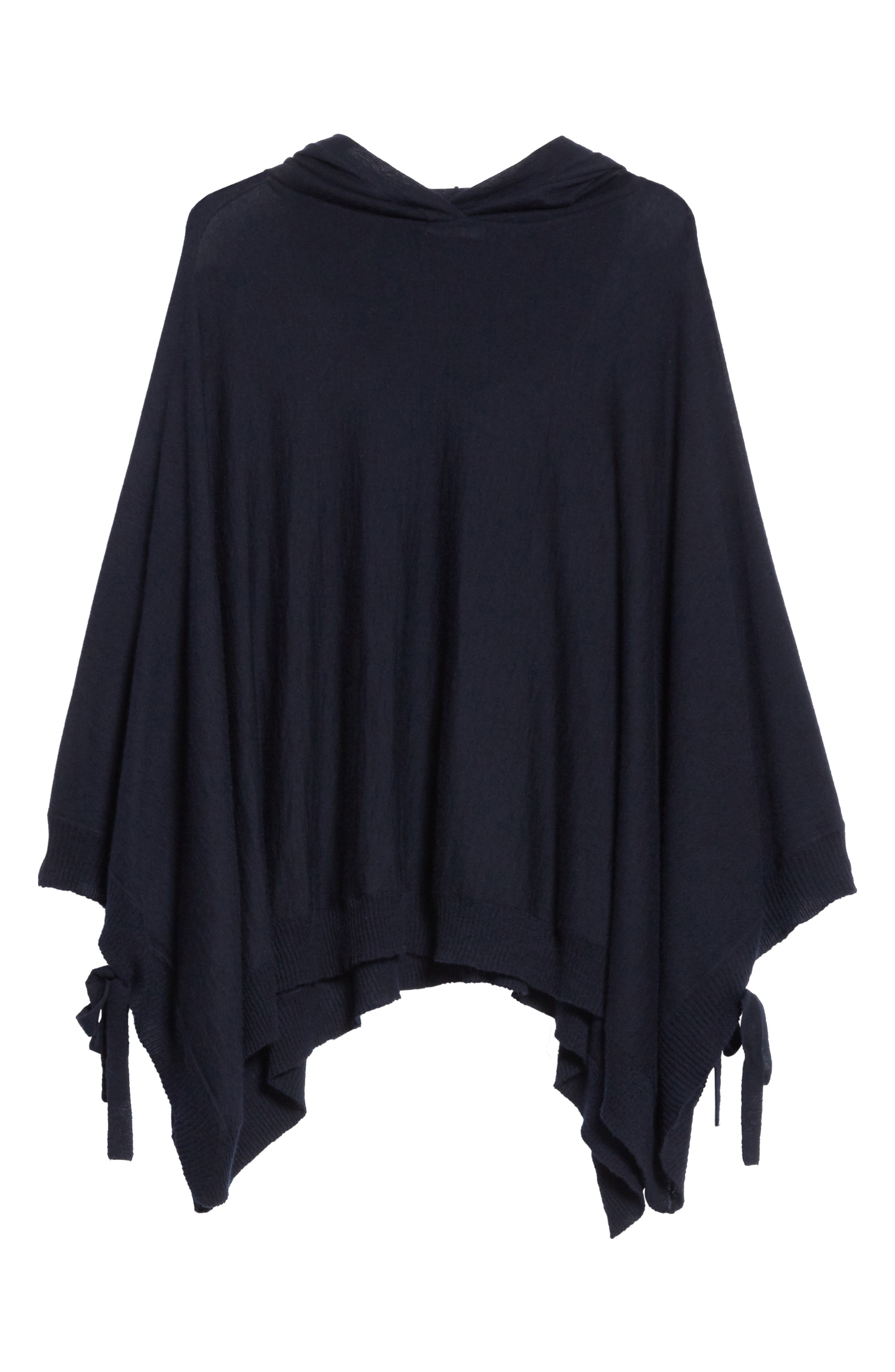 Hooded Wool & Cashmere Poncho,                             Alternate thumbnail 7, color,                             Coastal