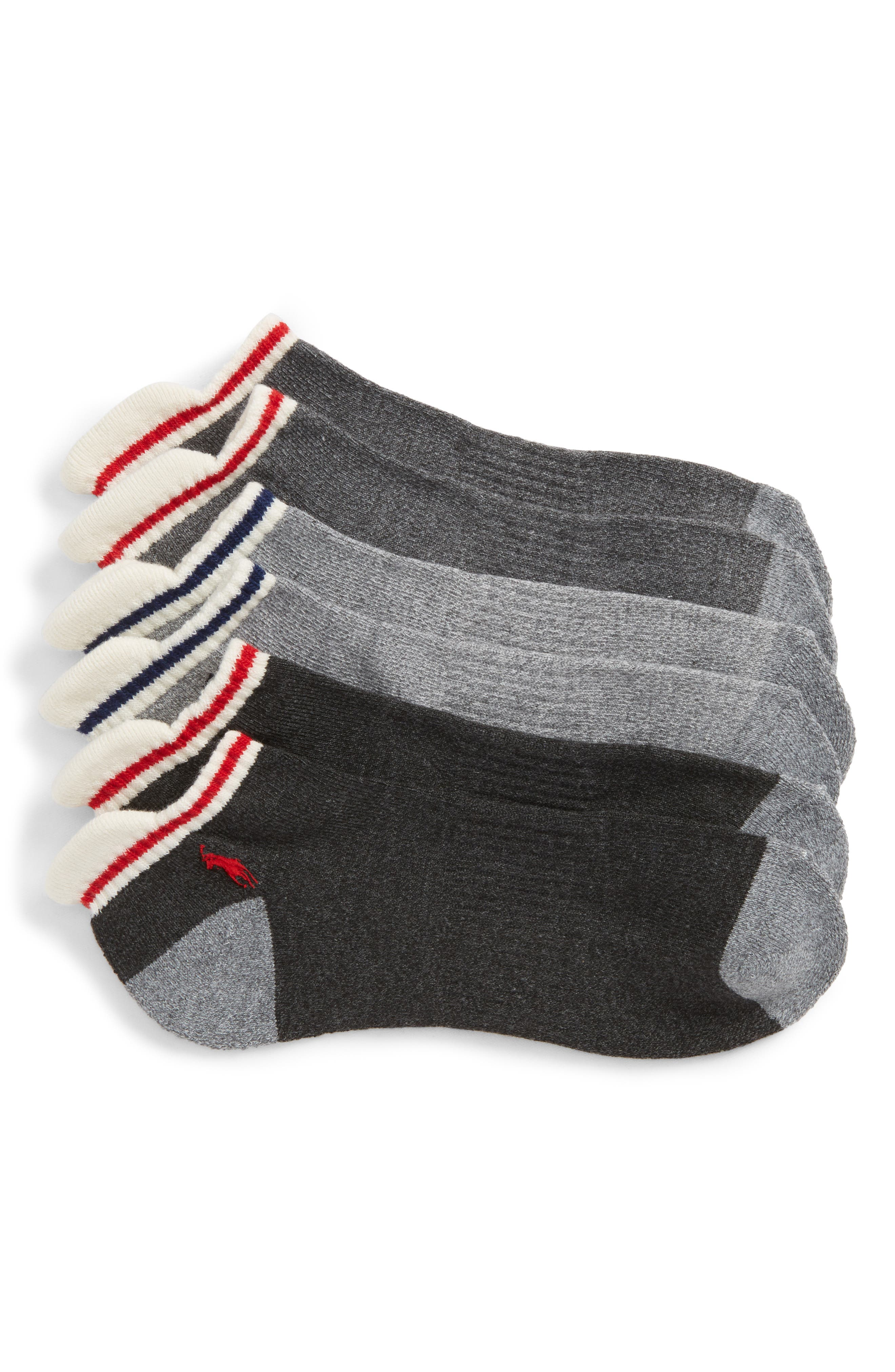 3-Pack Low Cut Socks,                             Main thumbnail 1, color,                             Grey Heather/ Assorted