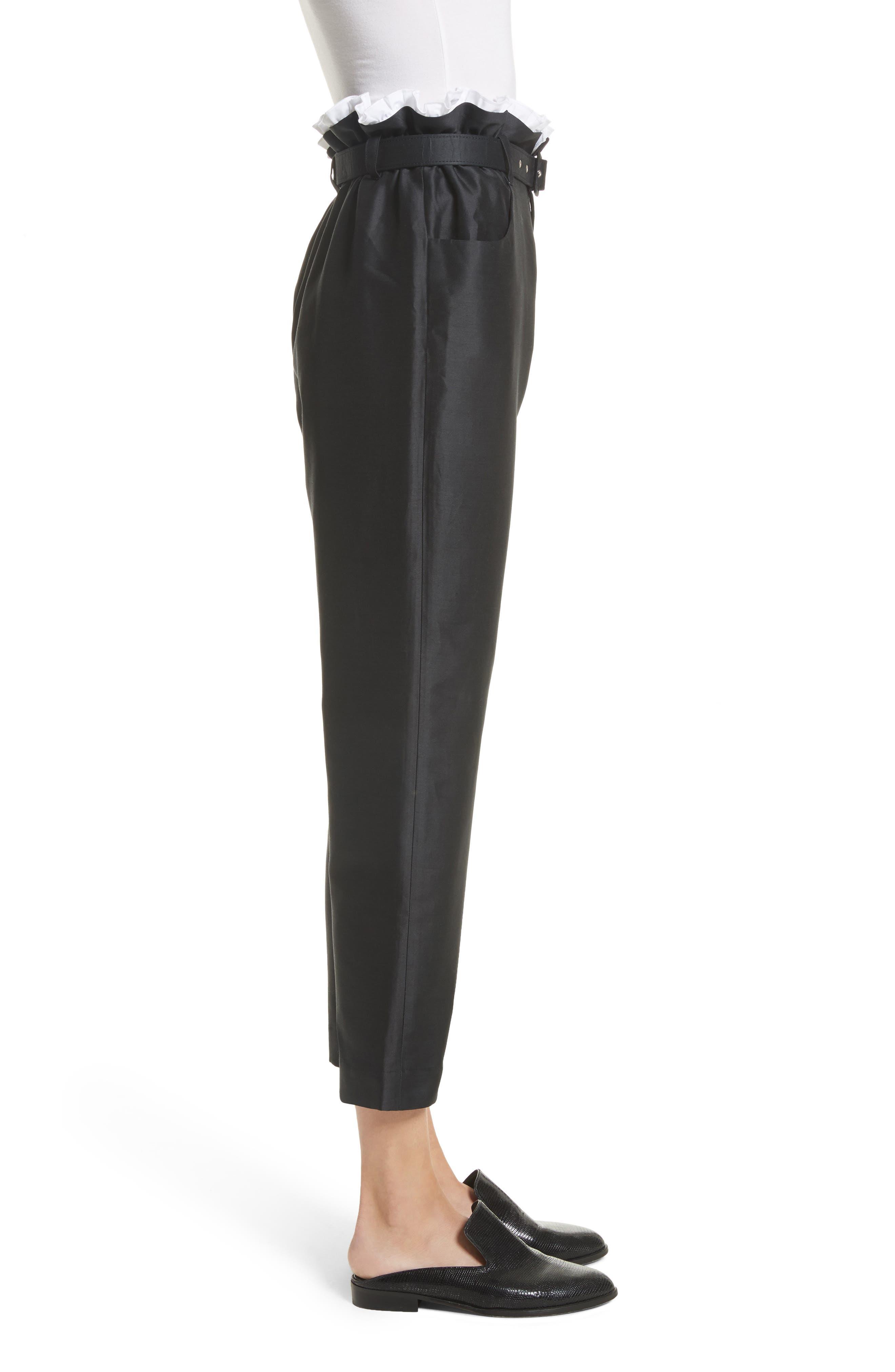 Paperbag Cotton & Silk Trousers,                             Alternate thumbnail 3, color,                             Black