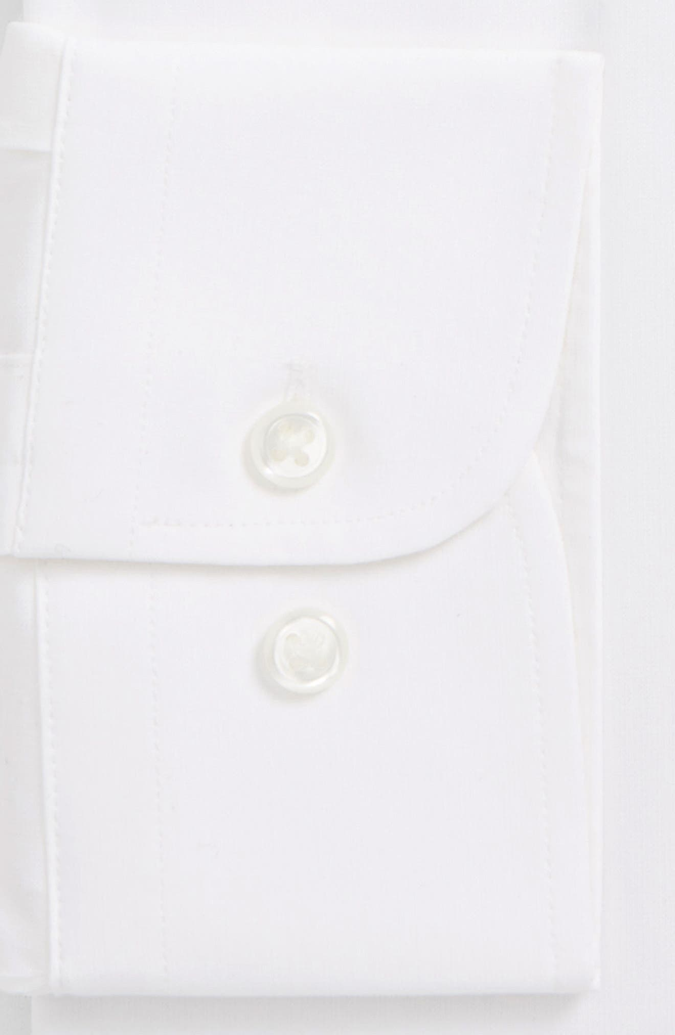 Tech-Smart Traditional Fit Stretch Pinrpoint Dress Shirt,                             Alternate thumbnail 3, color,                             White