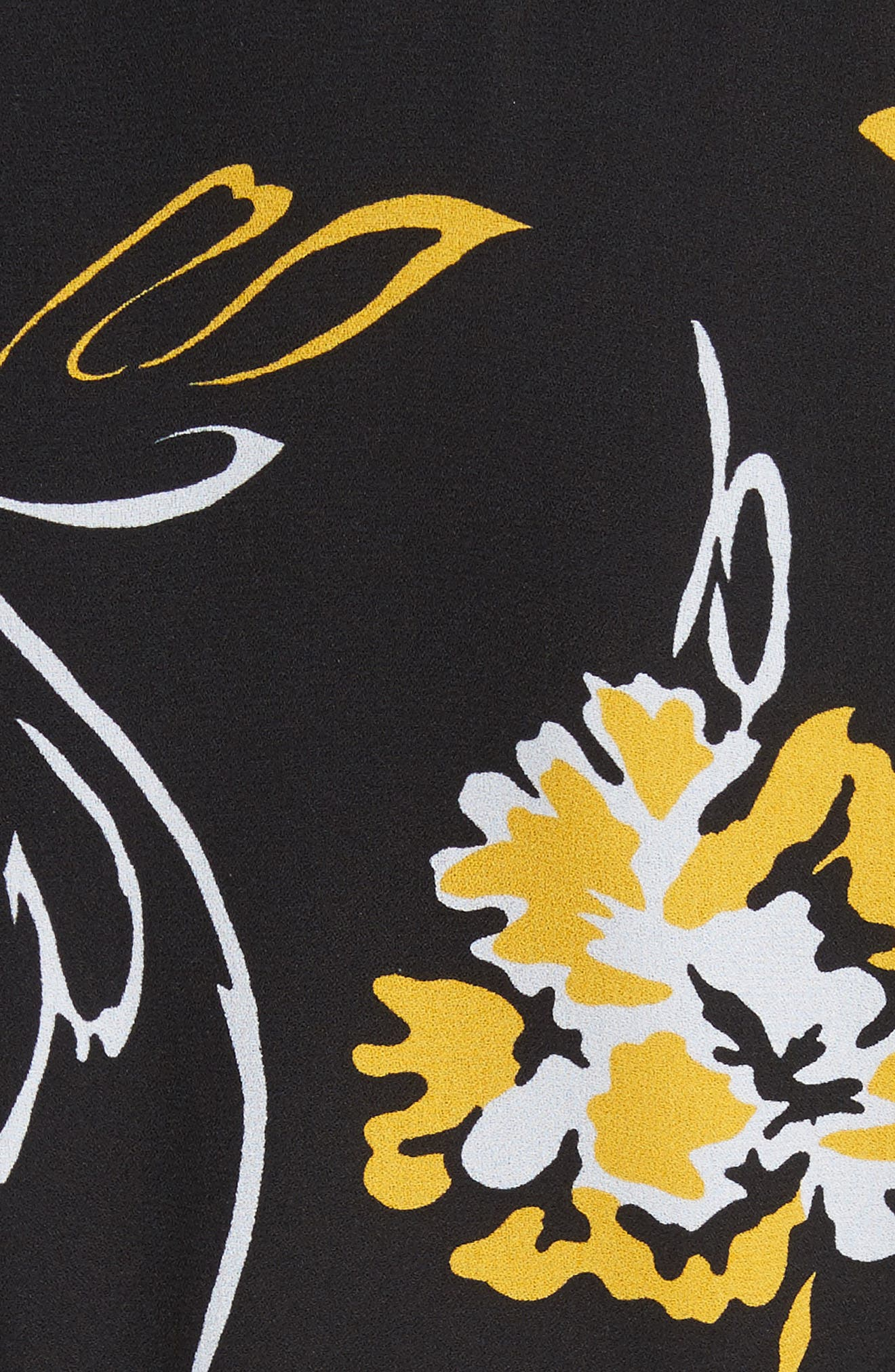 Floral Print Silk Flirt Dress,                             Alternate thumbnail 6, color,                             Lemon