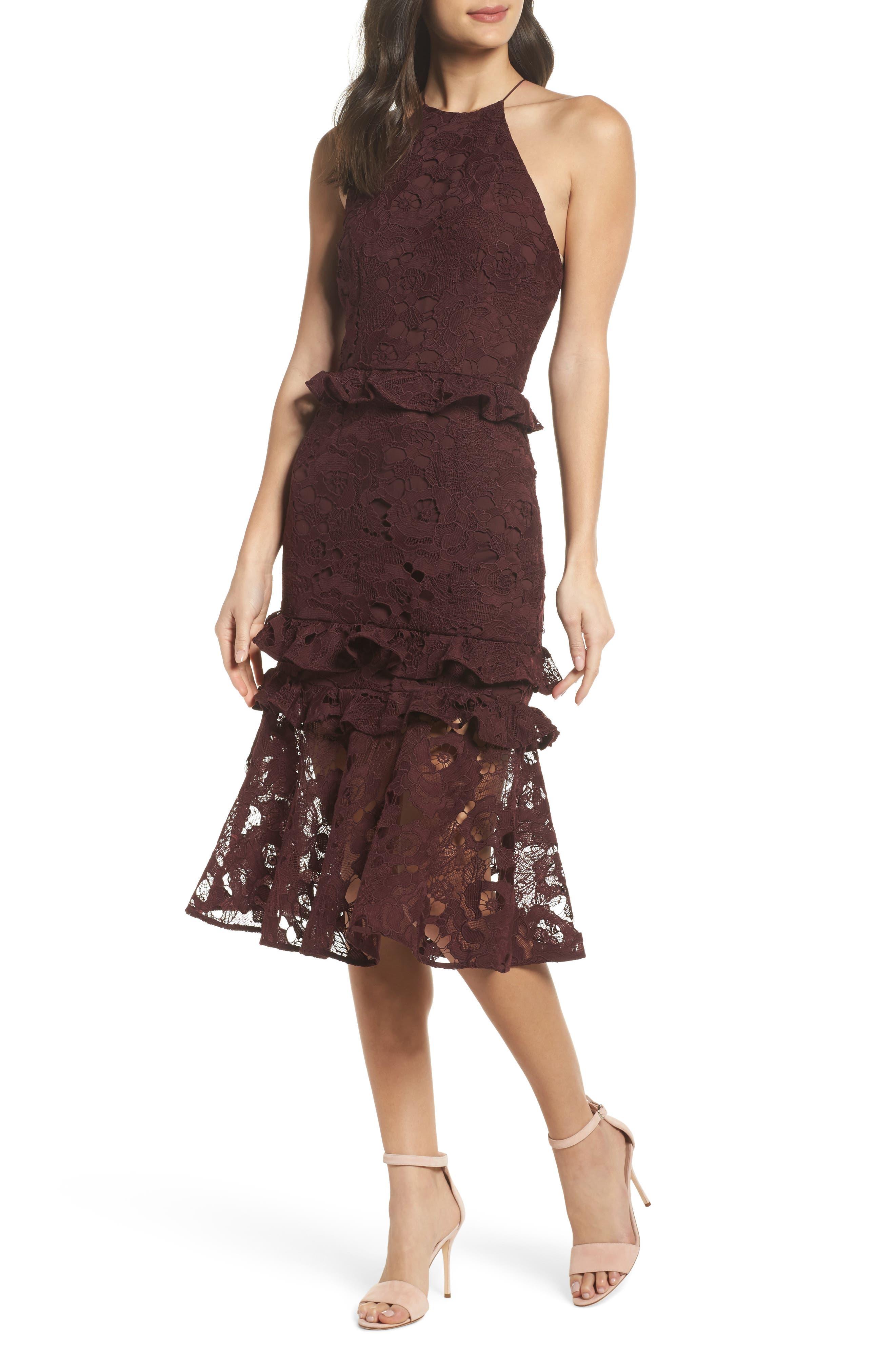 Enchantment Lace Midi Dress,                             Main thumbnail 1, color,                             Mahogany