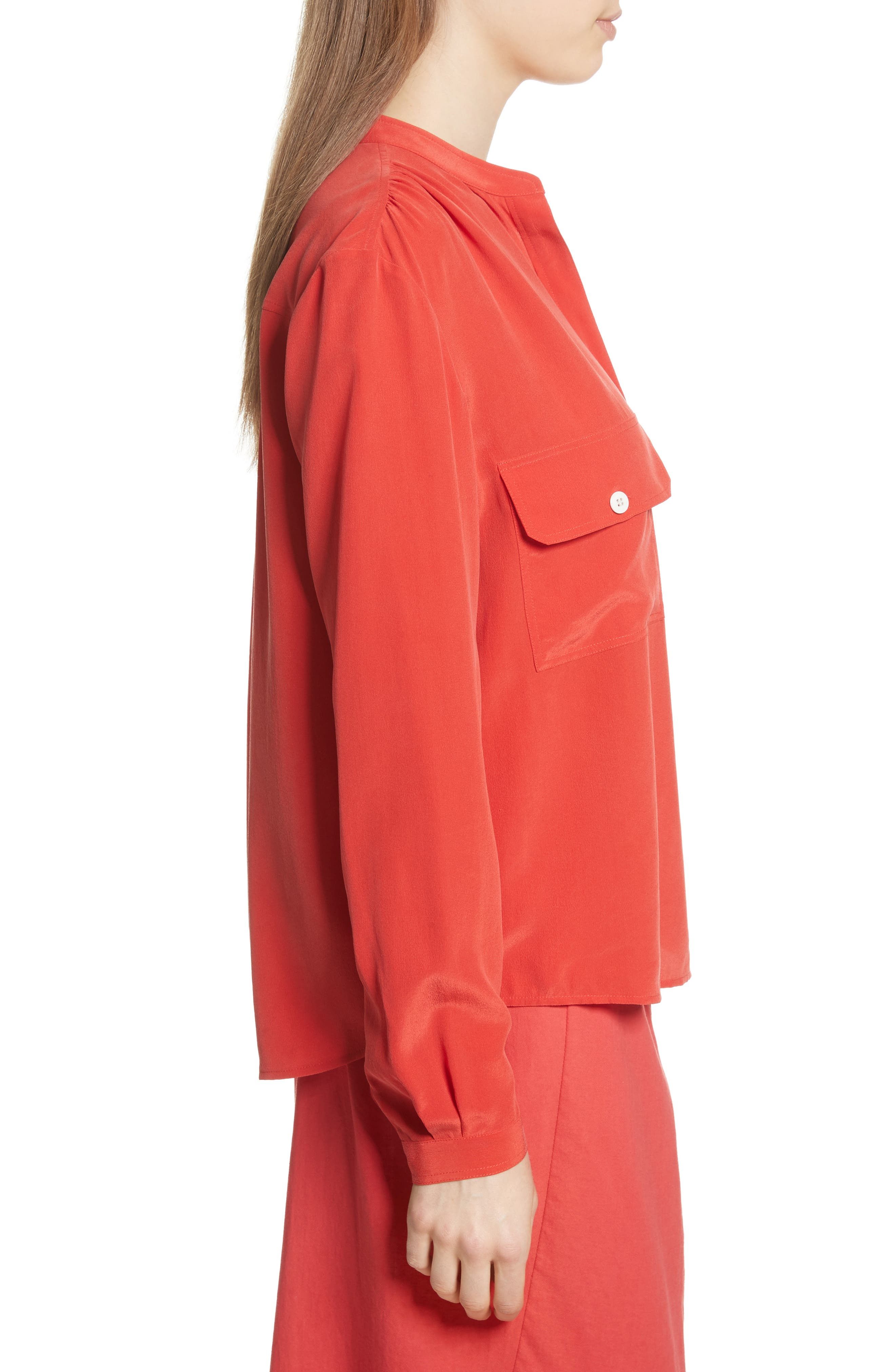 Utility Silk Blouse,                             Alternate thumbnail 3, color,                             Poppy