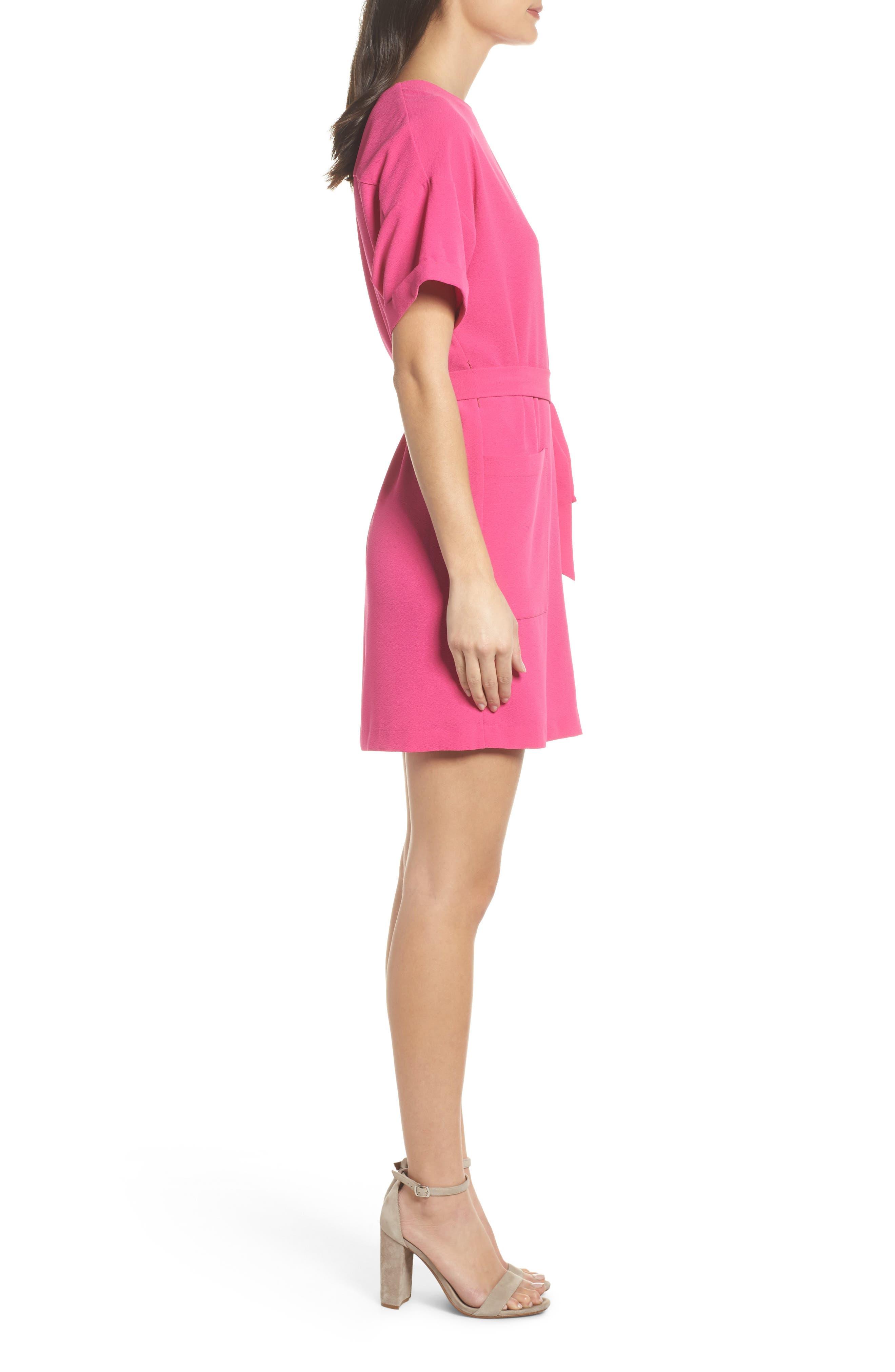 Halia Tie Waist Dress,                             Alternate thumbnail 3, color,                             Pink