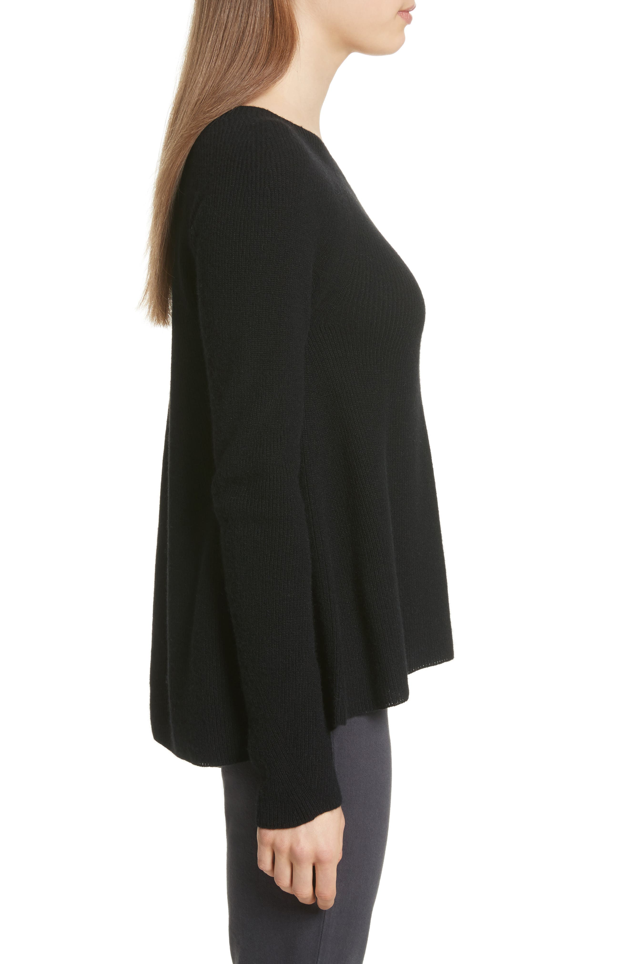 Ribbed Cashmere Sweater,                             Alternate thumbnail 3, color,                             Black