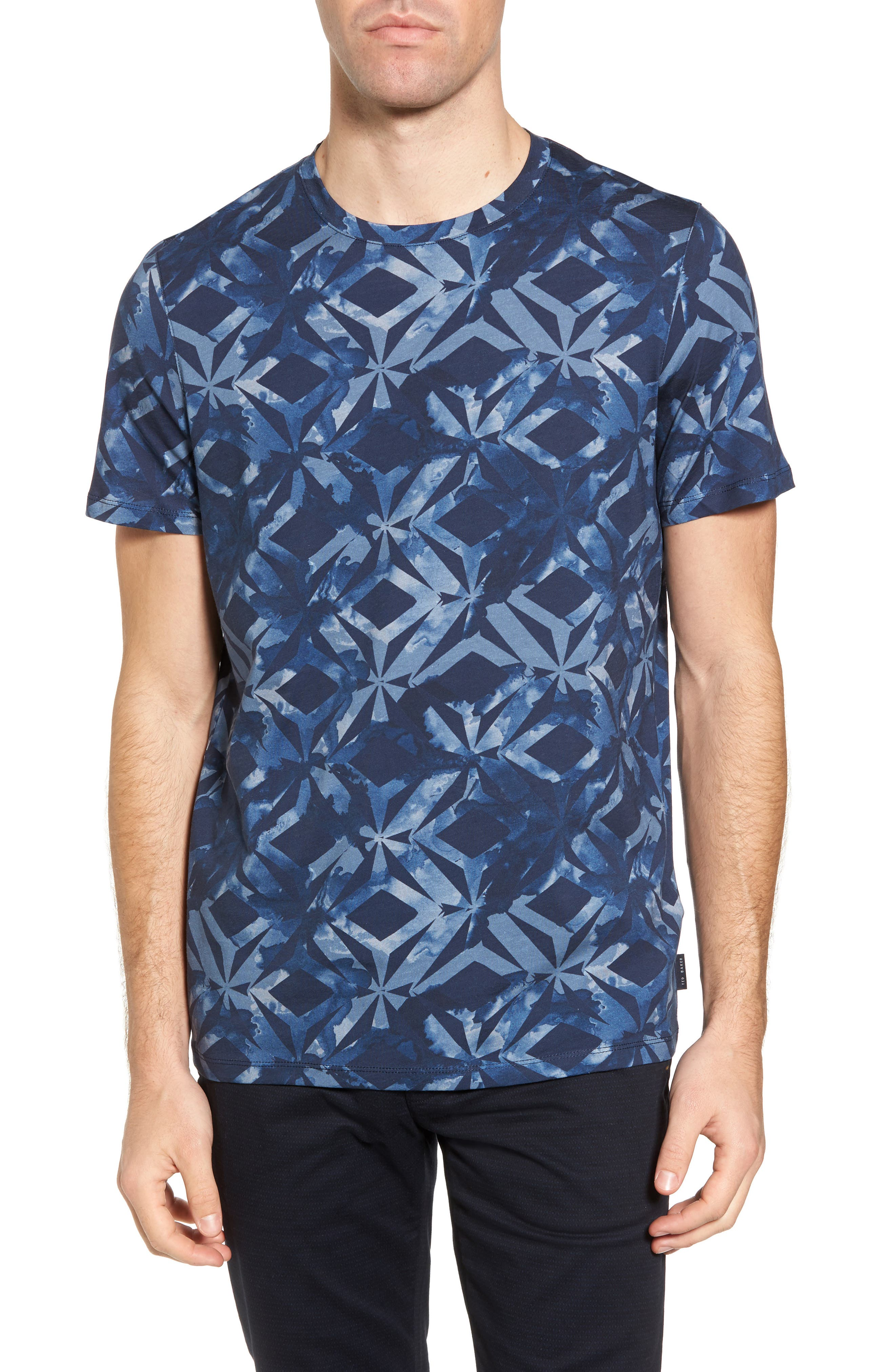 Woof Batik Print T-Shirt,                             Main thumbnail 1, color,                             Dark Blue