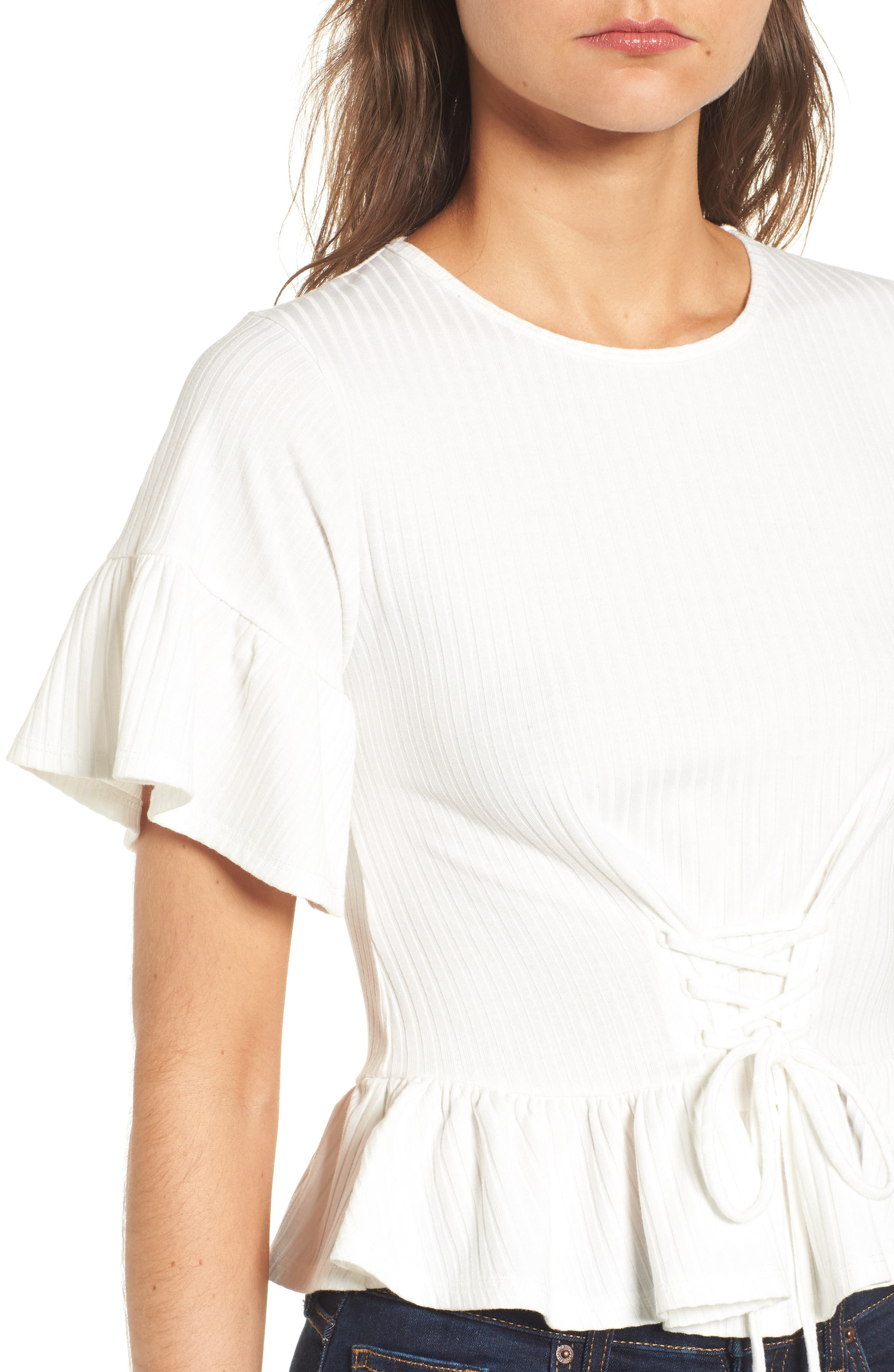 Lace-Up Tee,                             Alternate thumbnail 4, color,                             White