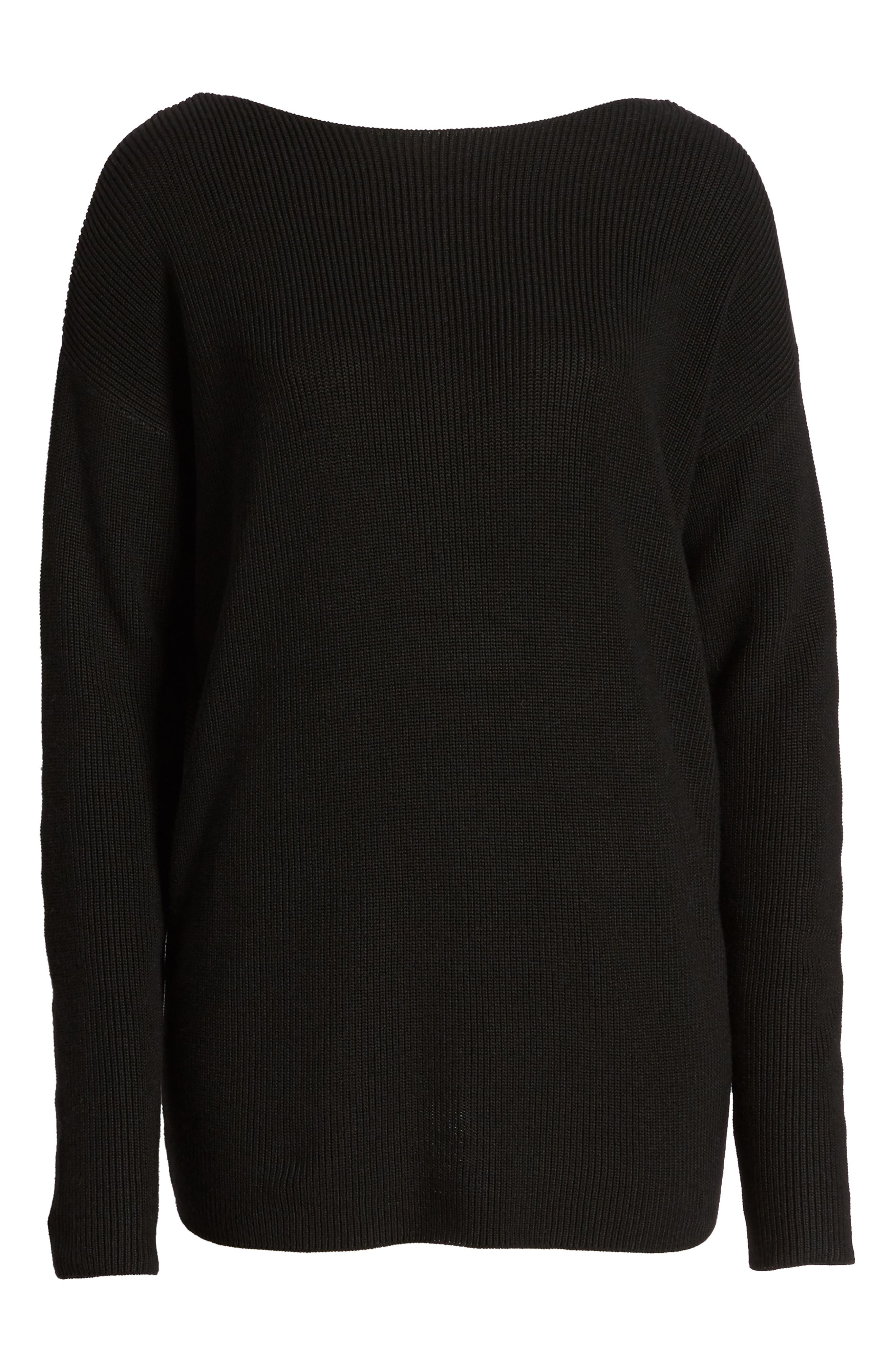 Twist Back Sweater,                             Alternate thumbnail 6, color,                             Black