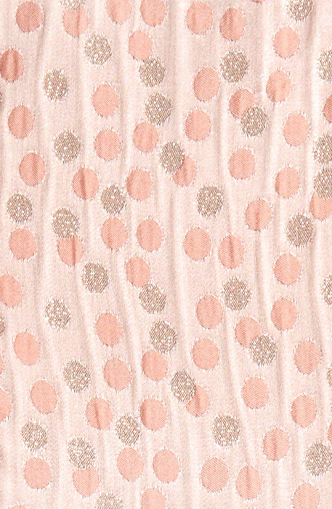 Metallic Dot Jacquard Dress,                             Alternate thumbnail 3, color,                             Peach