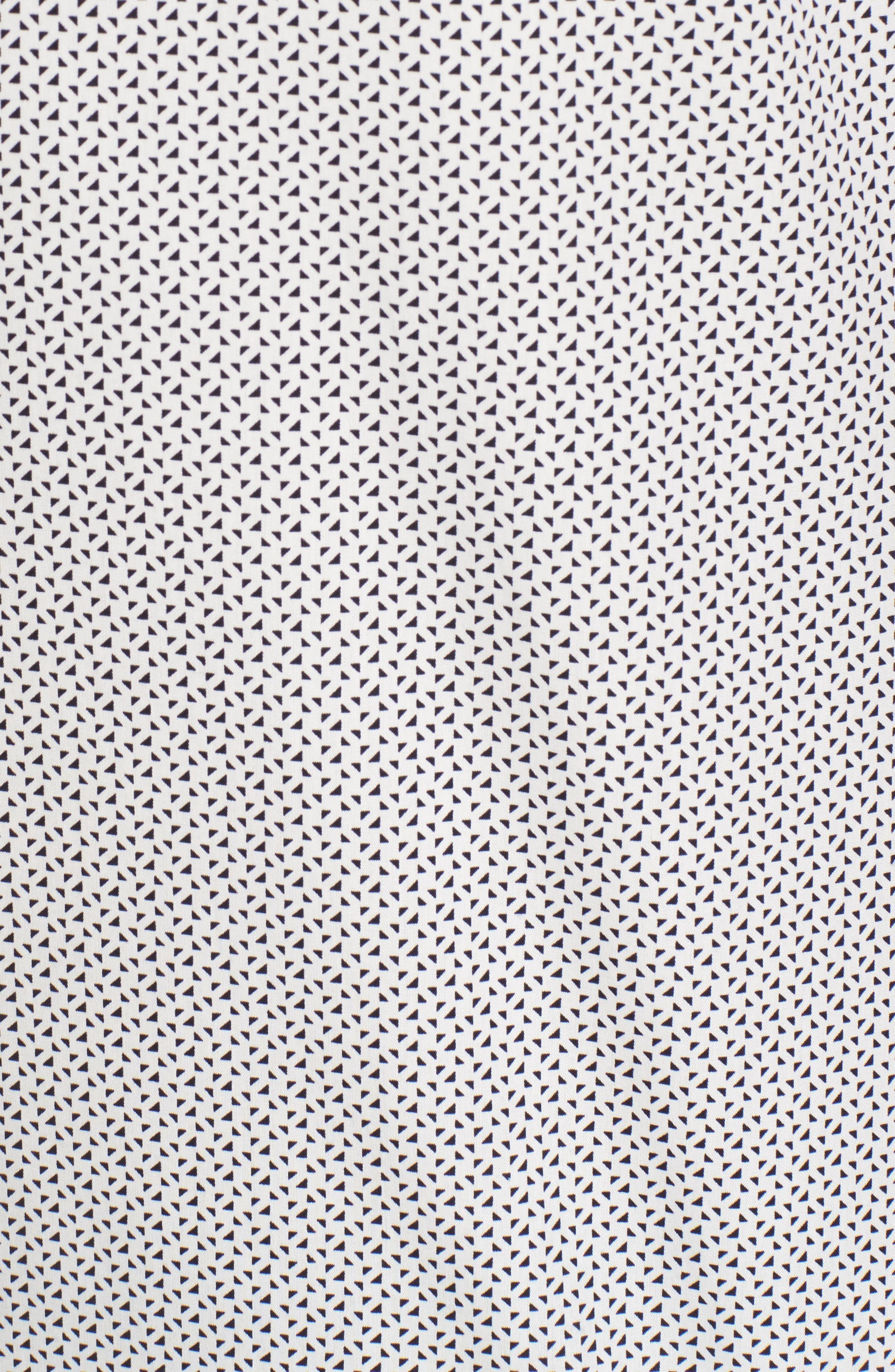 Slim Fit Print Short Sleeve Sport Shirt,                             Alternate thumbnail 5, color,                             White Navy Triangle