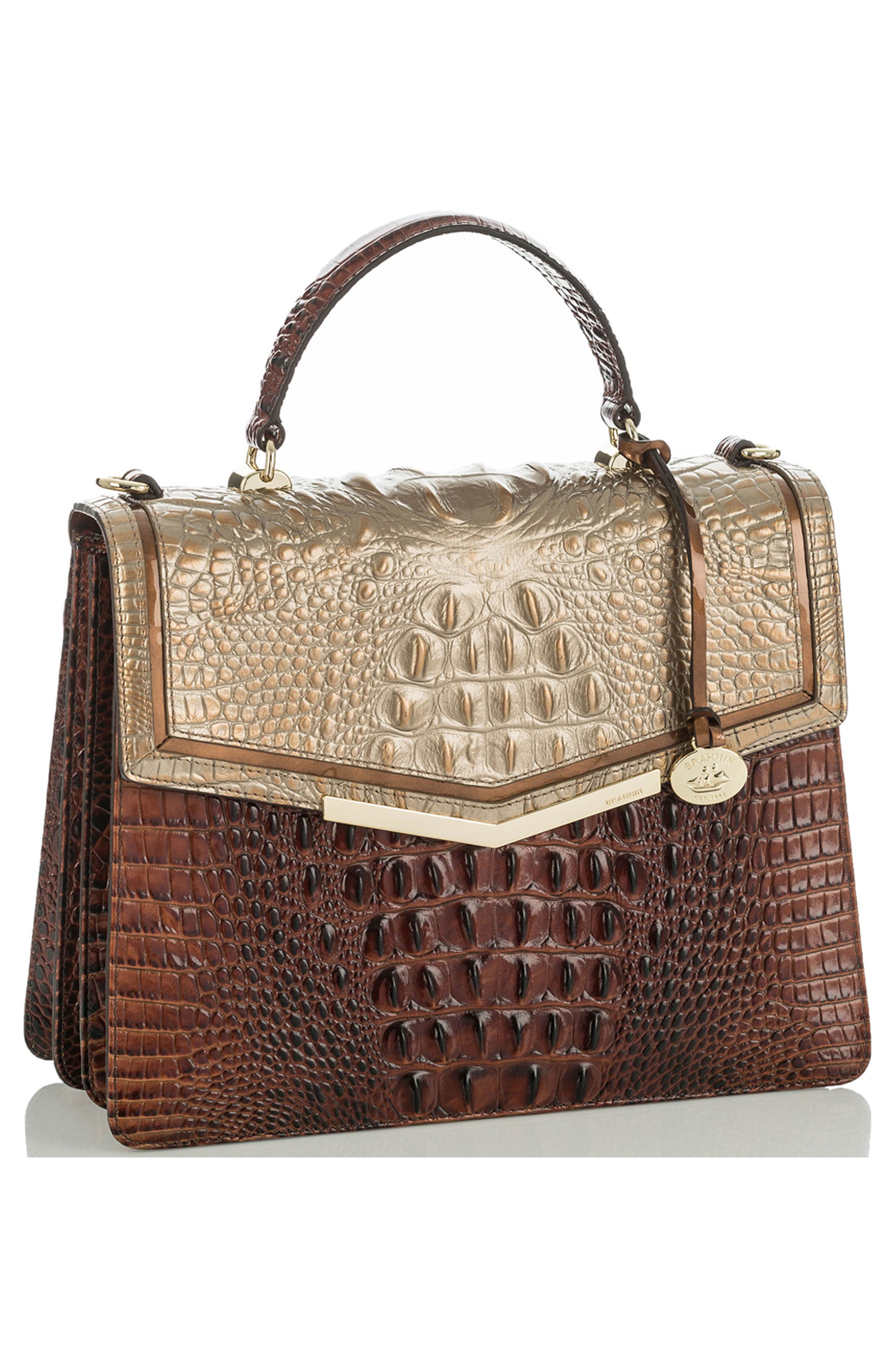 Gabriella Croc-Embossed Leather Satchel,                             Alternate thumbnail 4, color,                             Rose Gold