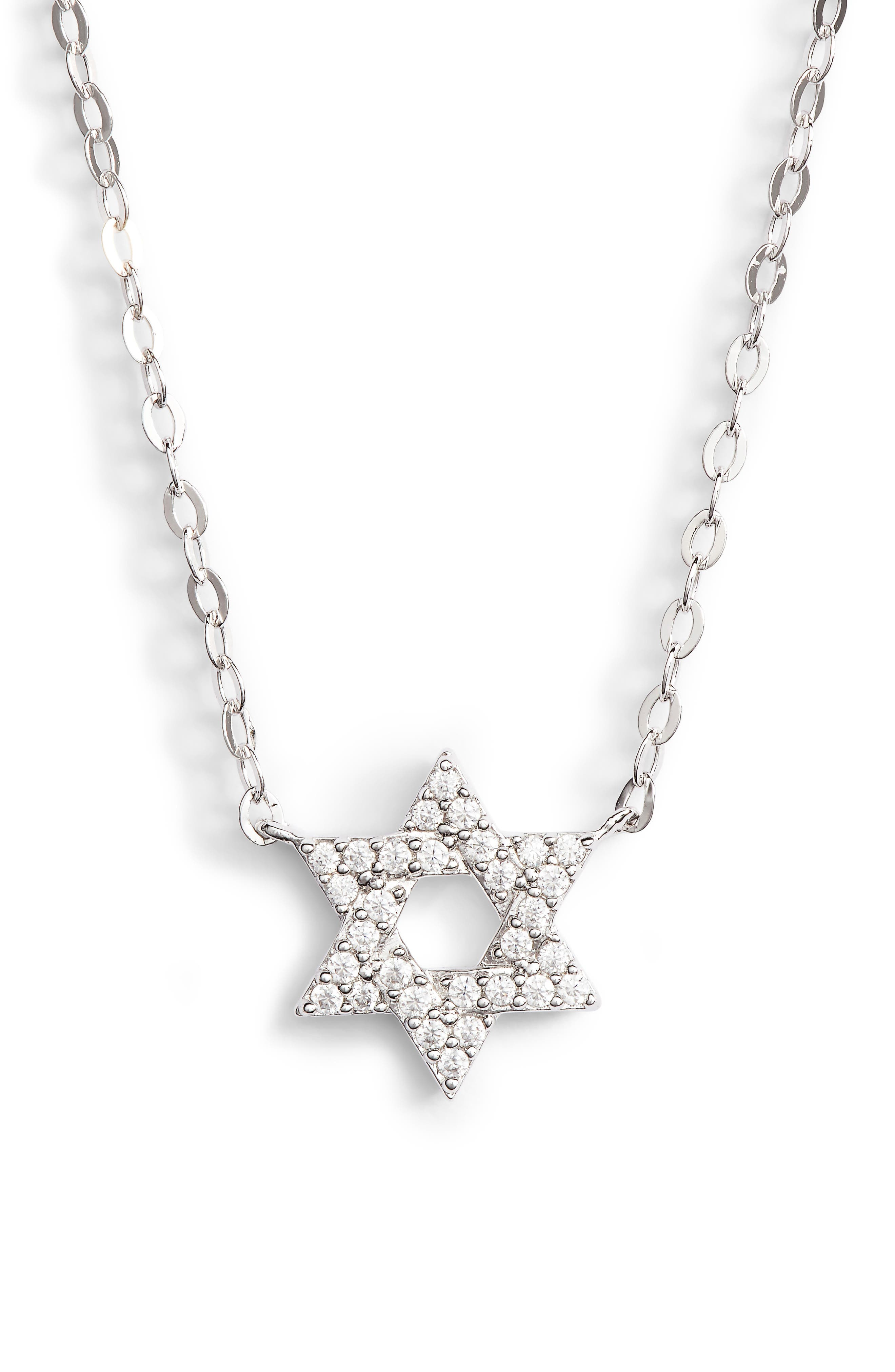Reminisce Star of David Pendant Necklace,                             Main thumbnail 1, color,                             Silver
